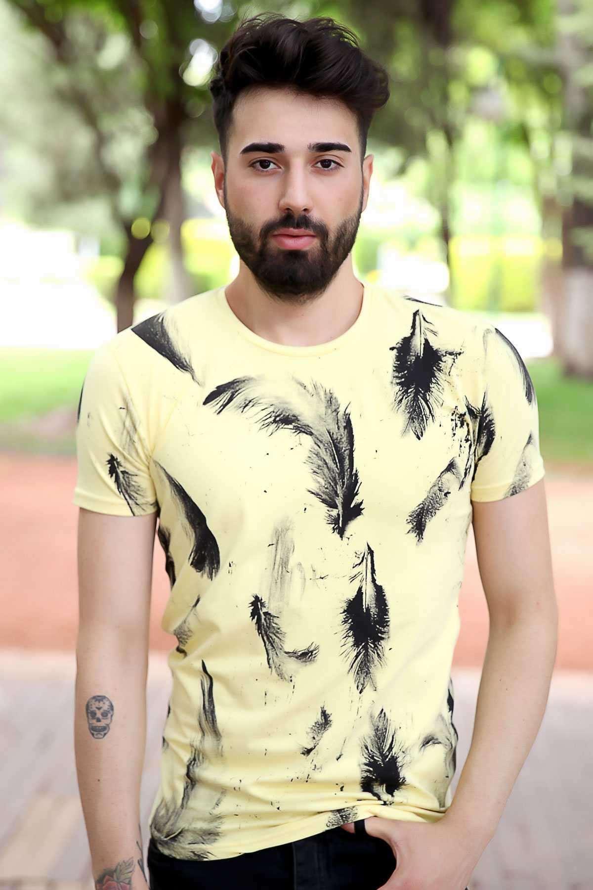 Tüy Baskılı Sıfır Yaka Slim Fit Tişört Sarı
