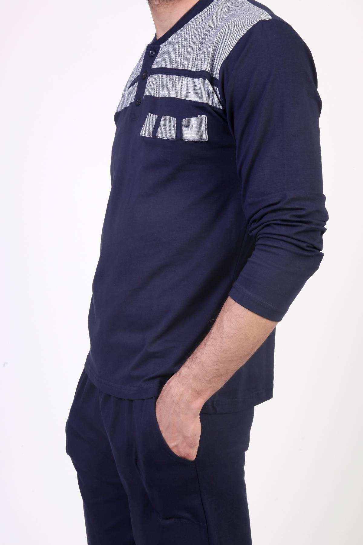 Üst İnce Şerit Desenli Uzun Kol Pijama Takımı Lacivert
