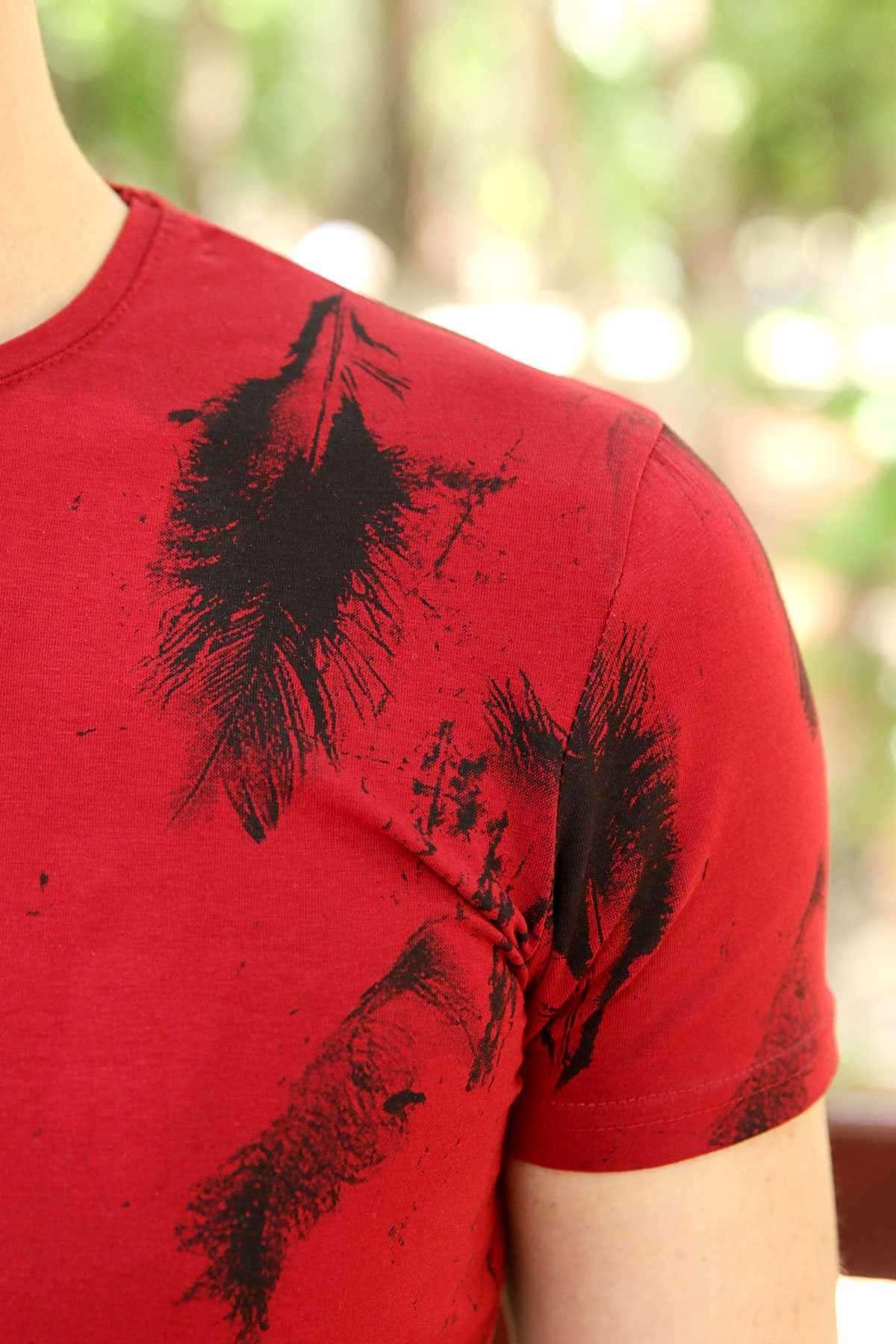 Tüy Baskılı Sıfır Yaka Slim Fit Tişört Bordo