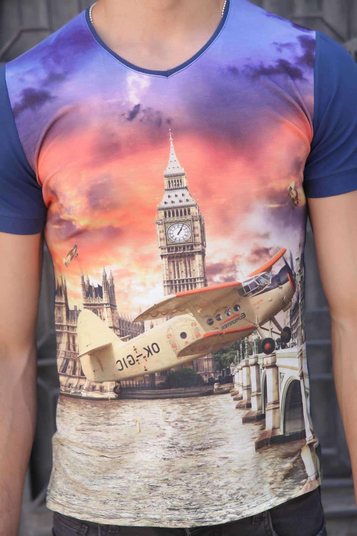 Uçak Baskı V Yaka Dijital Tişört İndigo