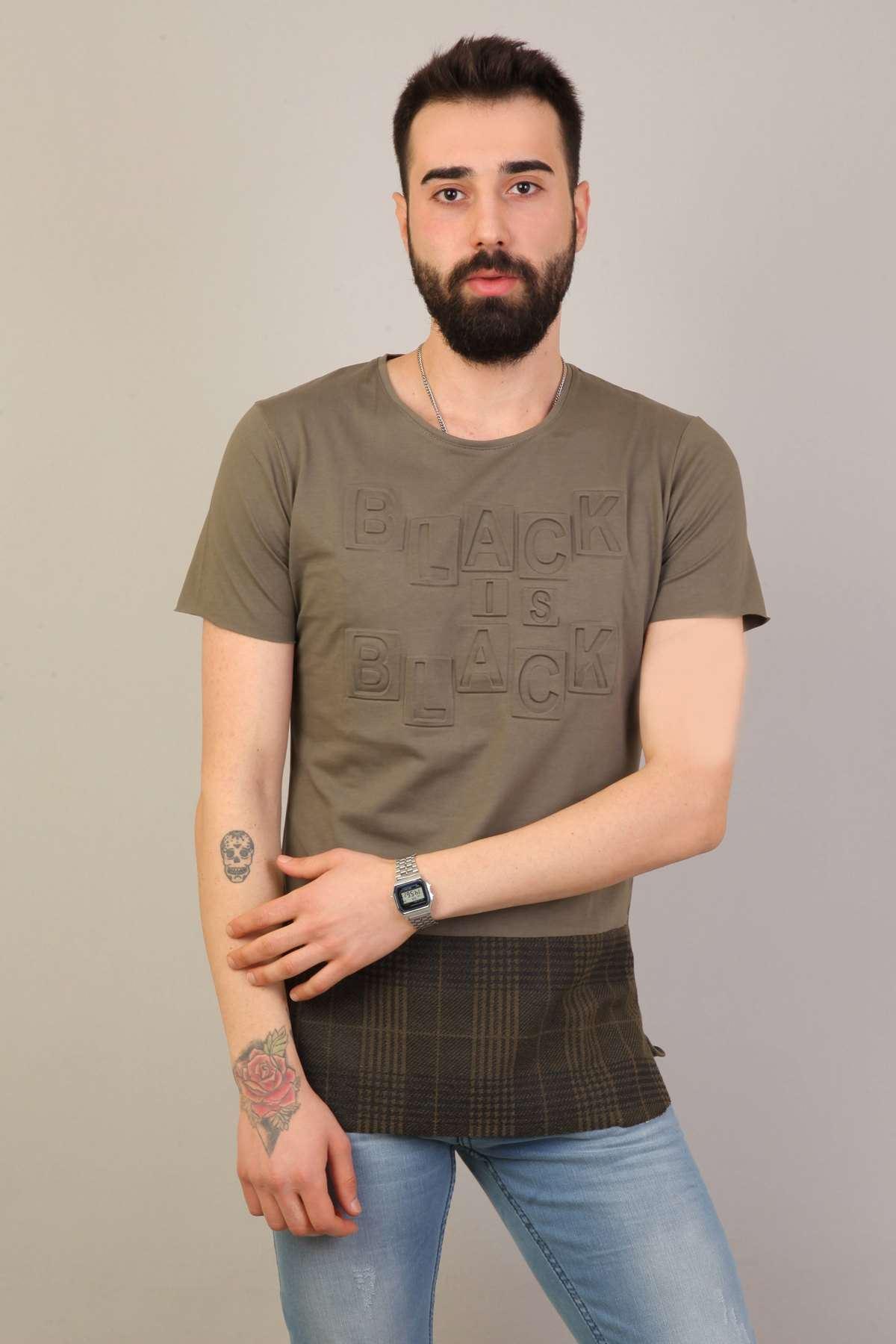 Üst Kabartma Yazılı Alt Hasır Desenli Tişört Haki