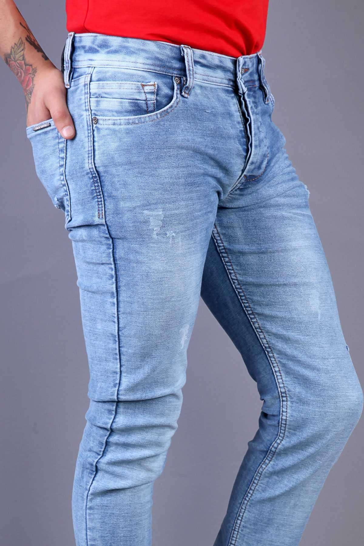 Üstü Lazer Tırtıklı Yıkamalı Slim Fit Kot Pantolon Mavi