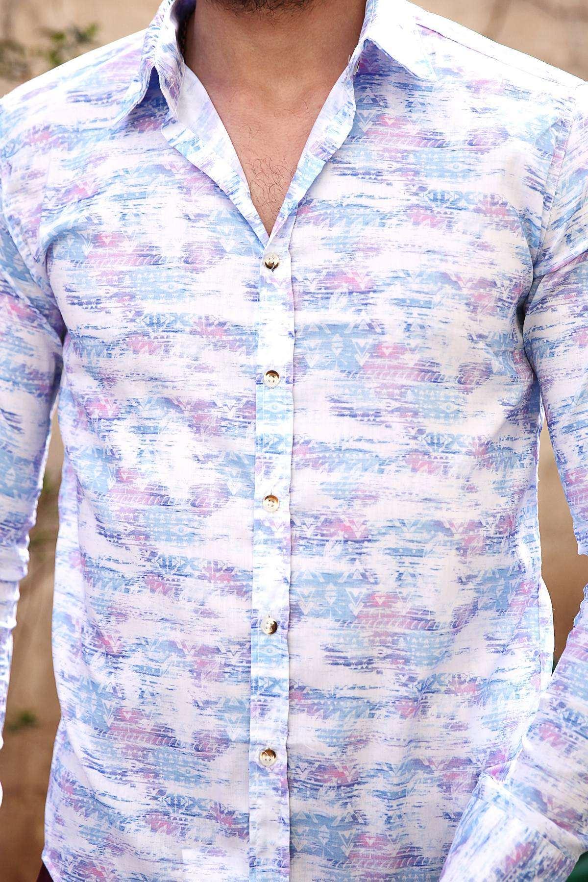 Üçgen Baskı Desenli Dijital Slim Fit Gömlek Beyaz-Mavi