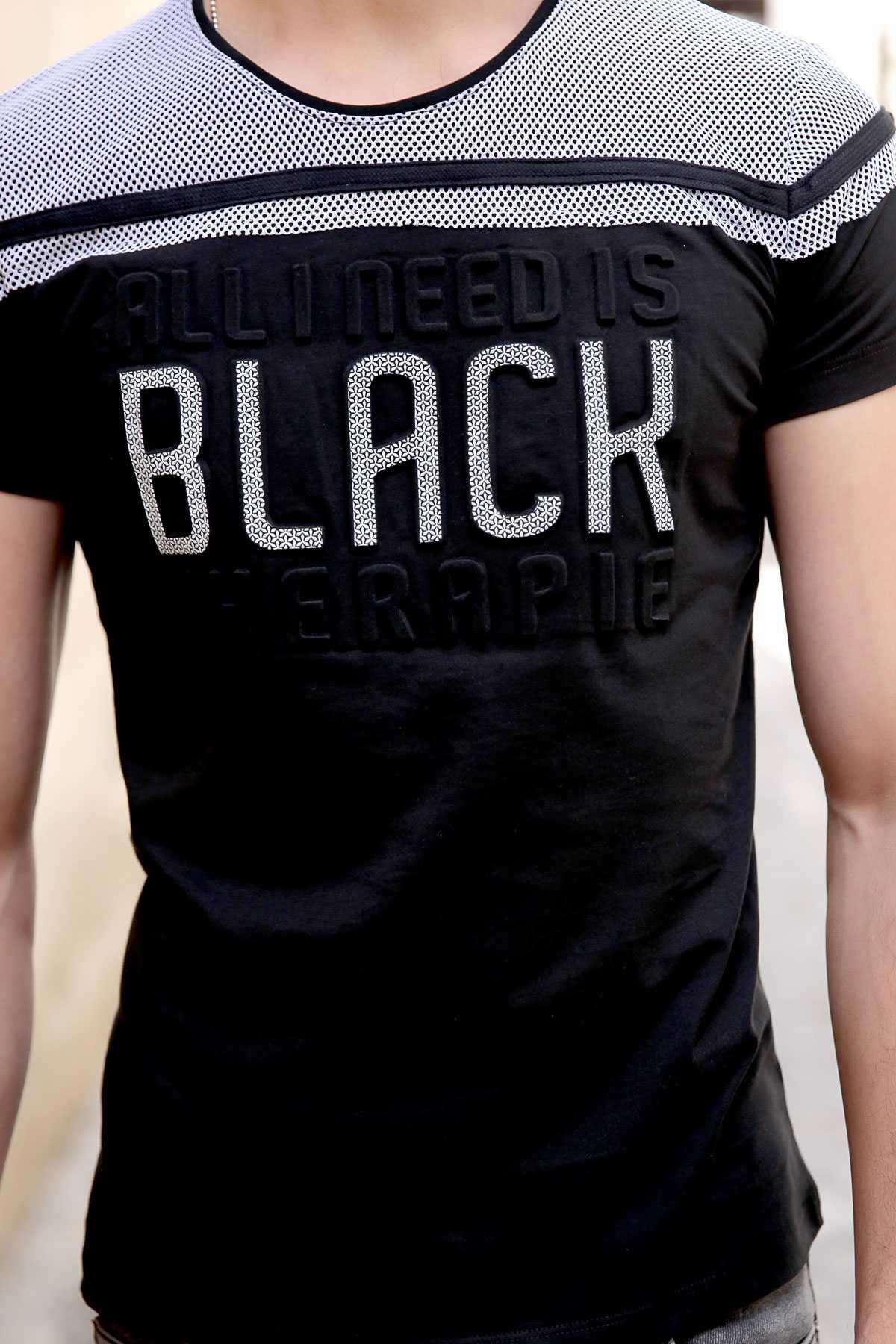 Üstü Fileli Göğüs Kabartma Black Yazılı Slim Fit Tişört Siyah
