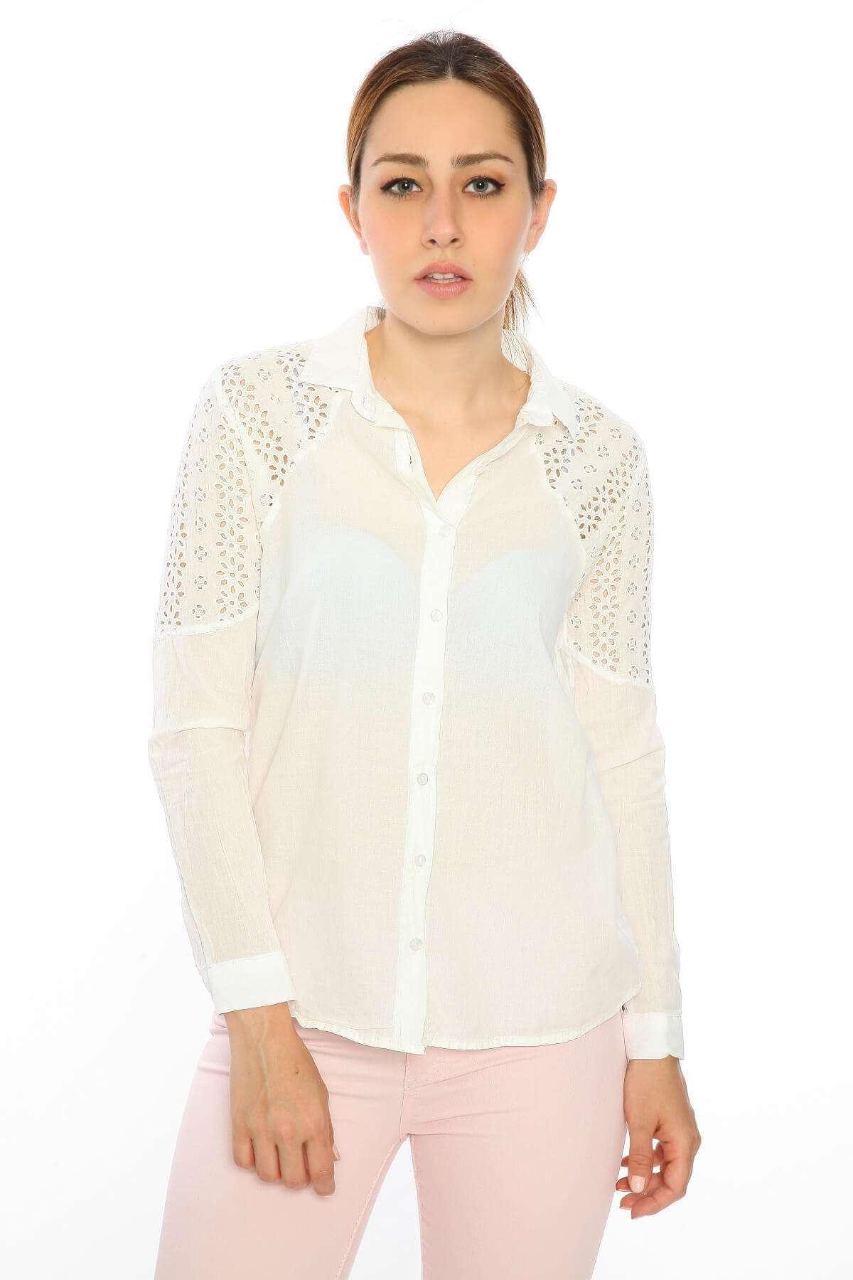 Uzun Kol Sırt Omuz Güpür Keten Gömlek Beyaz