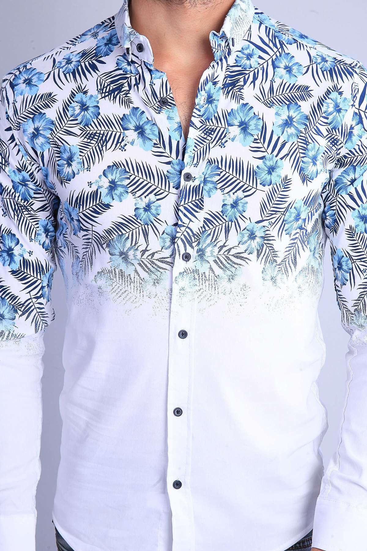 Üstü 5 Yaprak Çiçek Desenli Slim Fit Gömlek Beyaz-Mavi