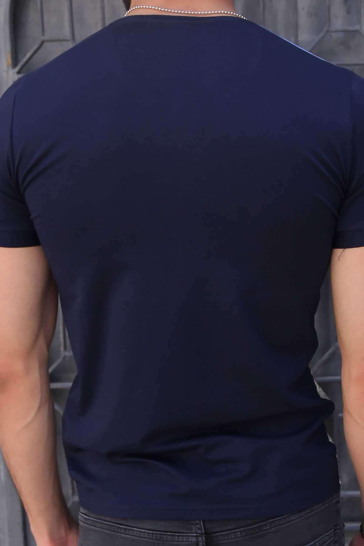 Uçak Baskı V Yaka Dijital Tişört Lacivert