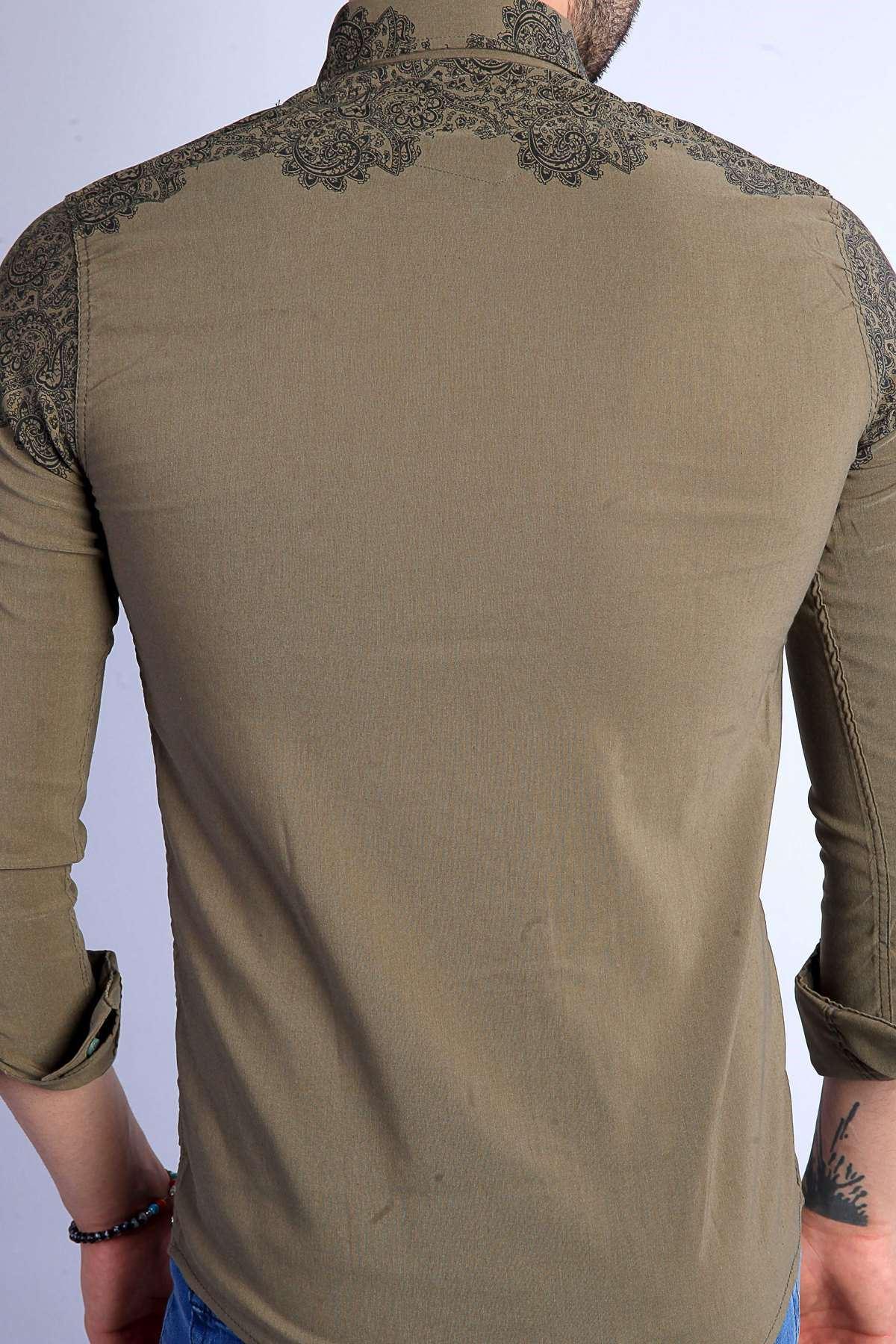 Üst Şal Desenli Yaka Düğmeli Slim Fit Gömlek Haki