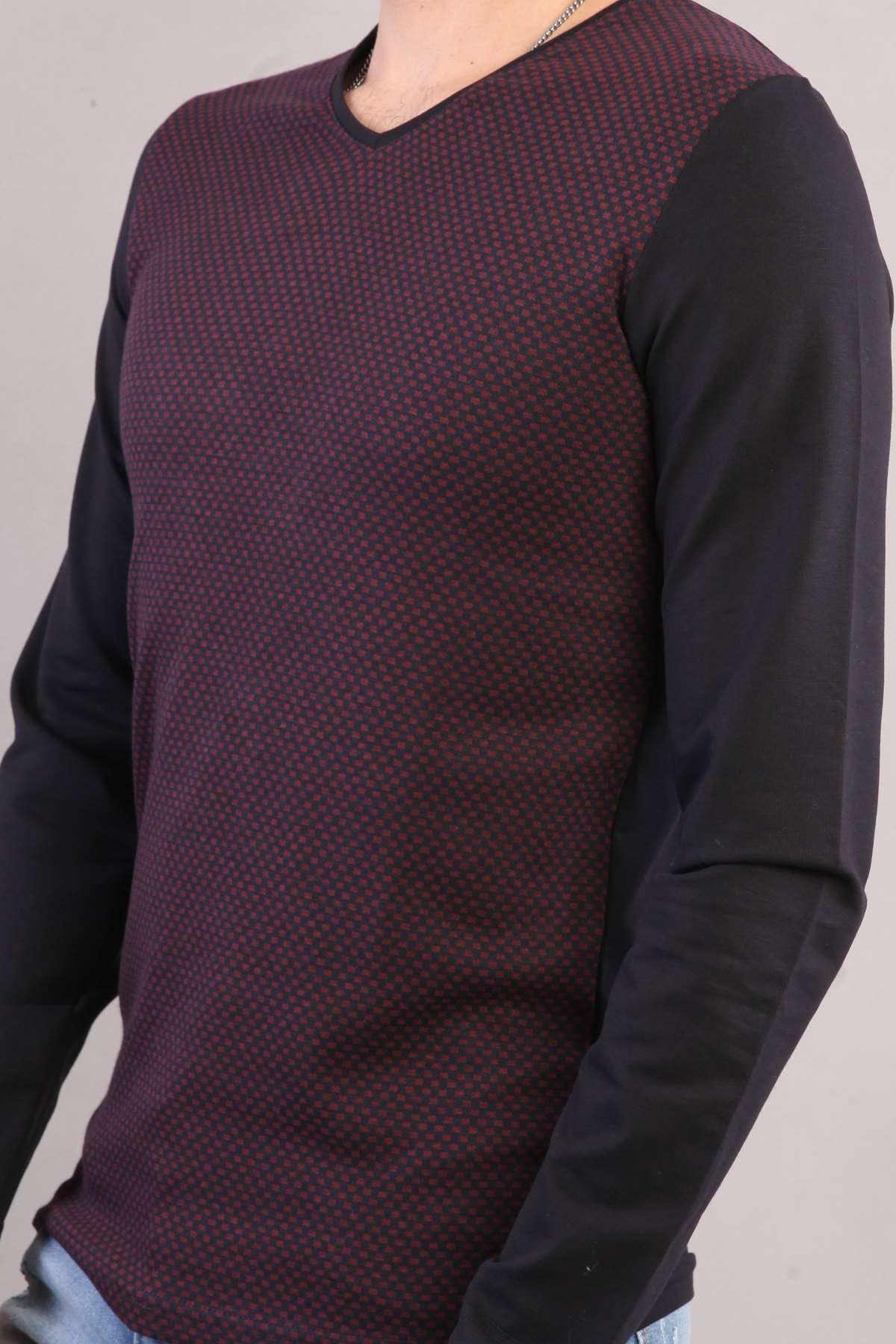 V Yaka Slim Fit Küçük Kare Desenli Sweatshirt Lacivert-Bordo