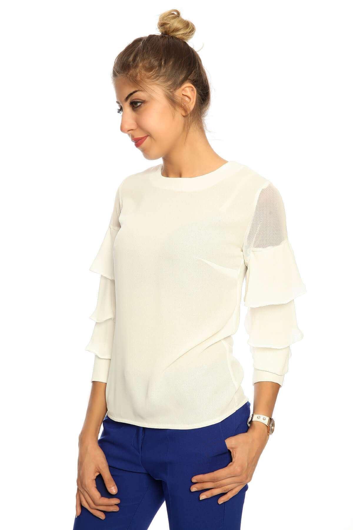 Volan Kol Omuz Transparan Bluz Beyaz