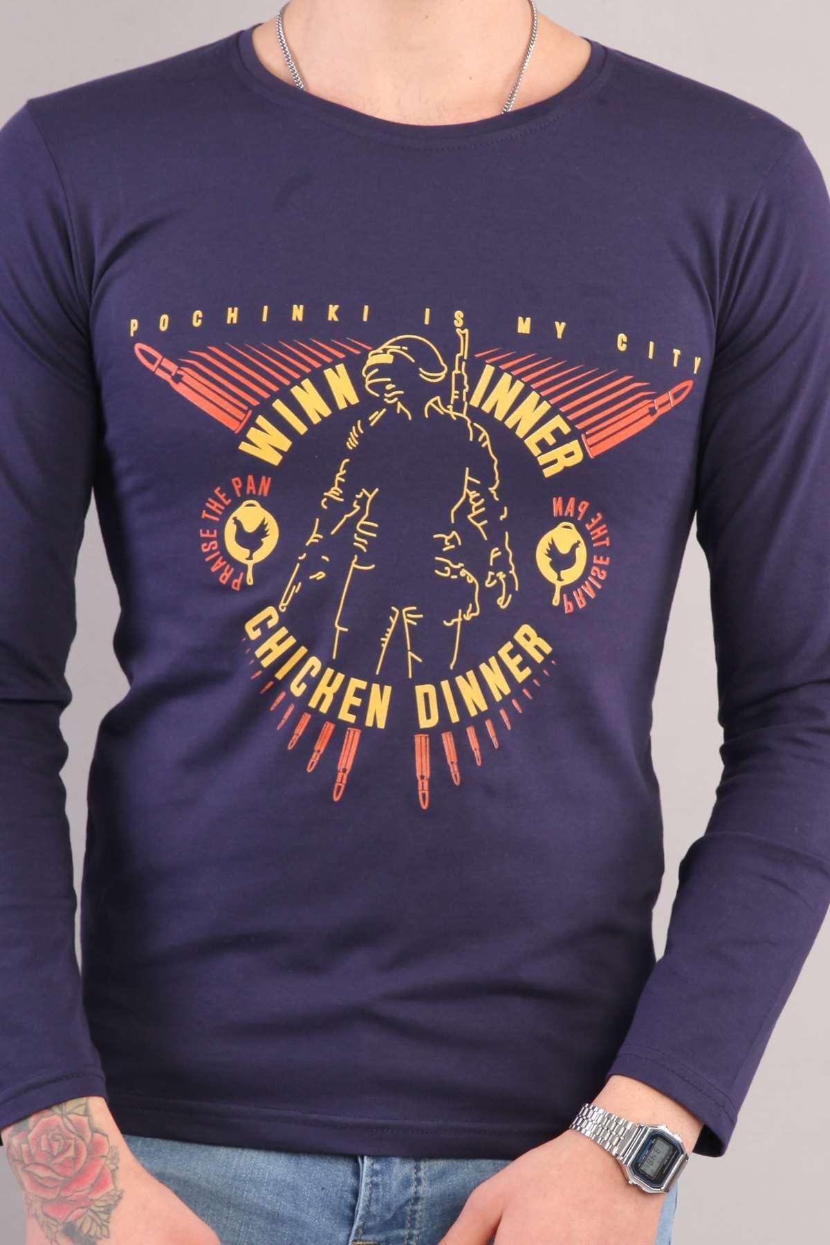 Winner Chicken Dinner Yazılı Sıfır Yaka Sweatshirt Lacivert