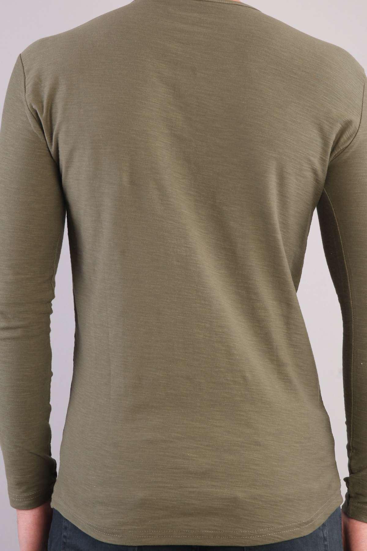 Yaka Düğmeli Flamlı Sweatshirt Haki