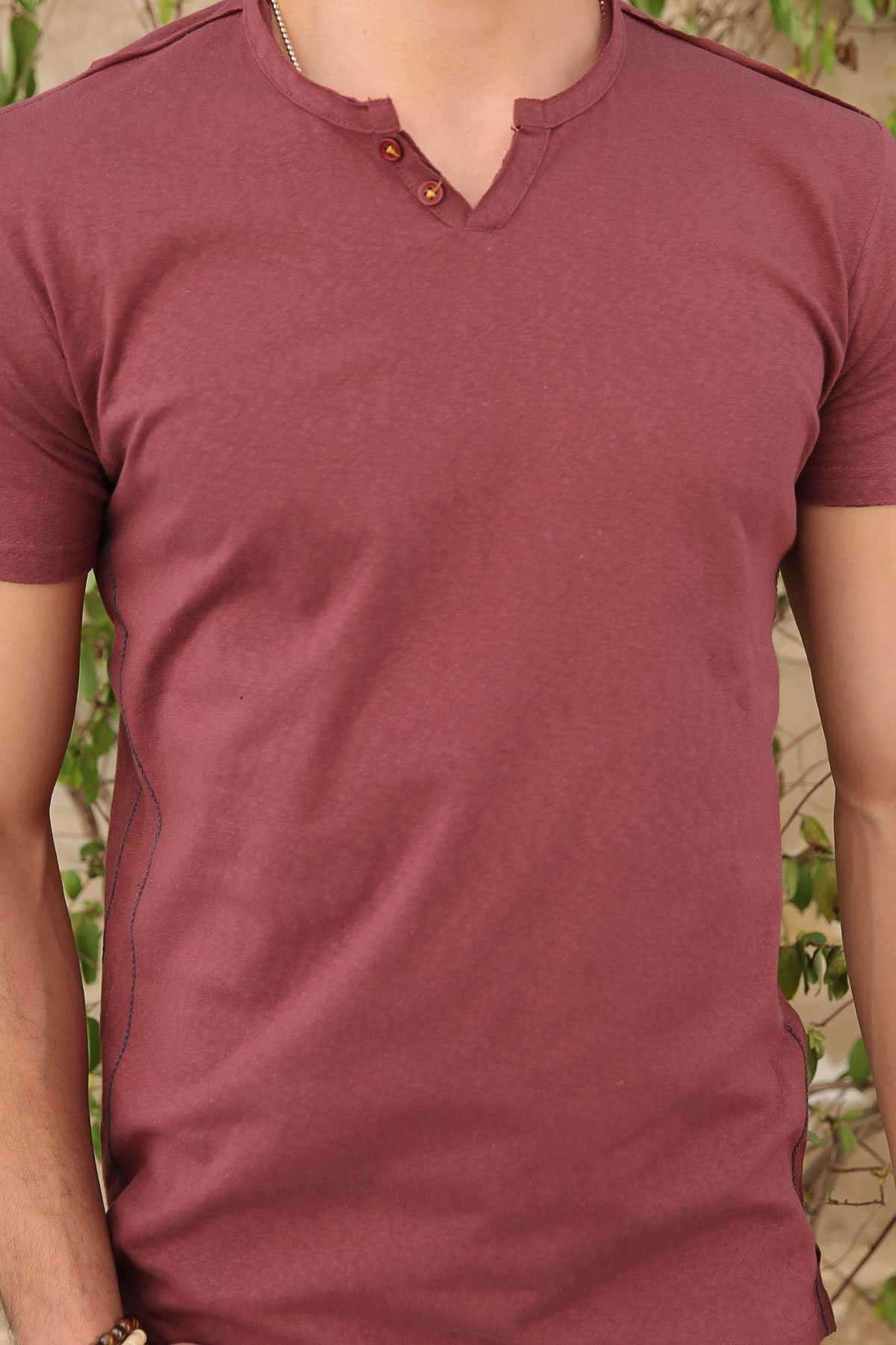 Yaka Çift Düğmeli Yanları İnce Şeritli Slim Fit Tişört Kiremit