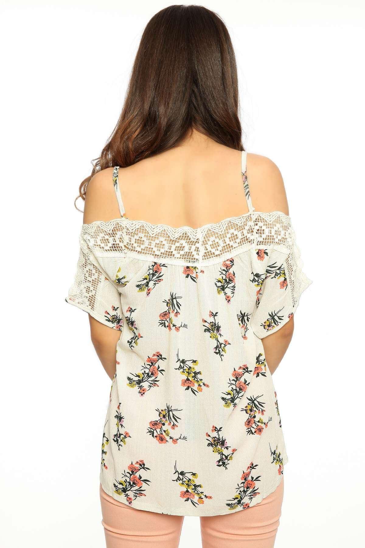 Yaka Dantelli Çiçek Desenli Salaş Bluz Beyaz