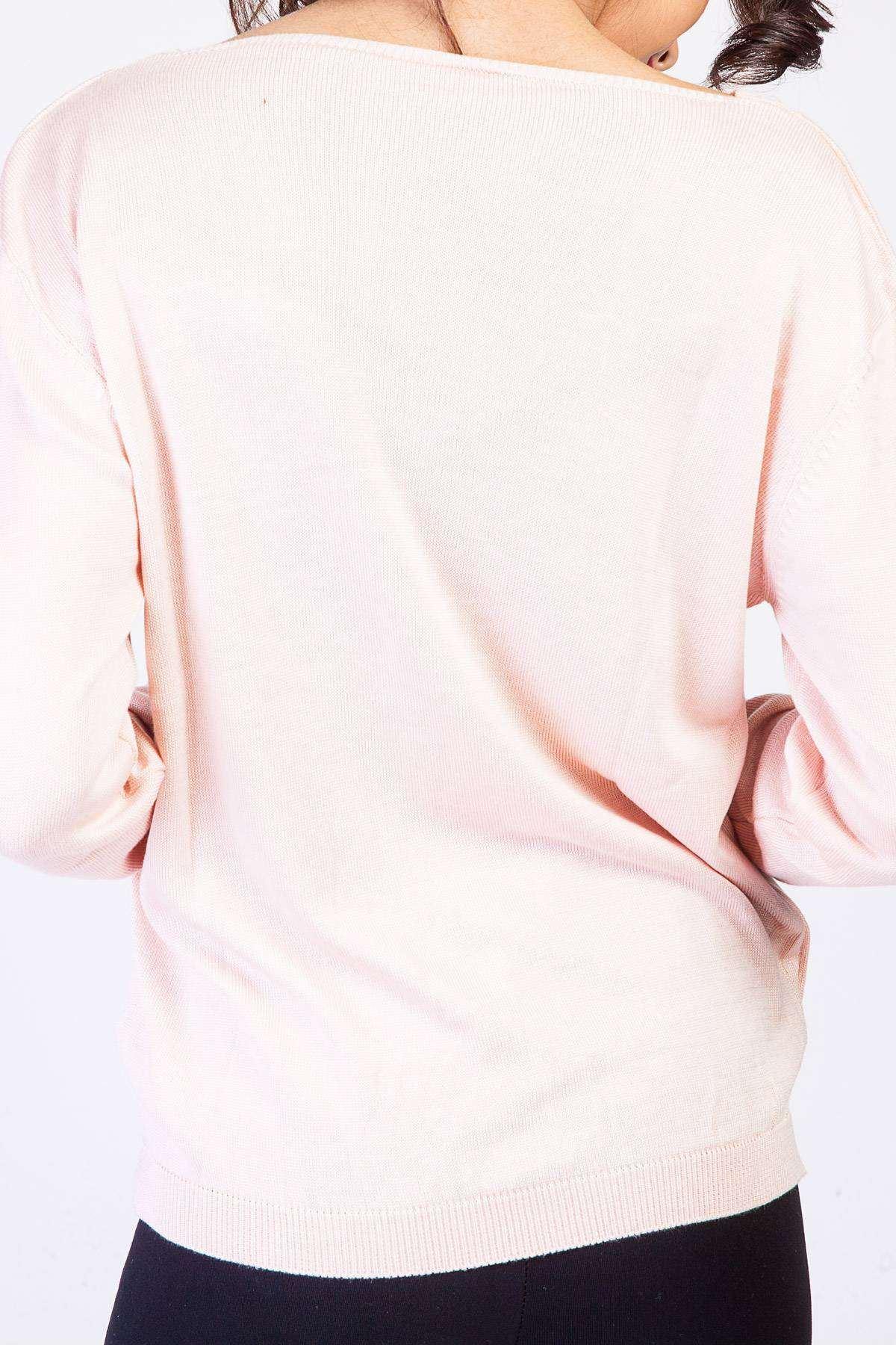 Yaka Dekolte Detaylı Triko Bluz Pudra