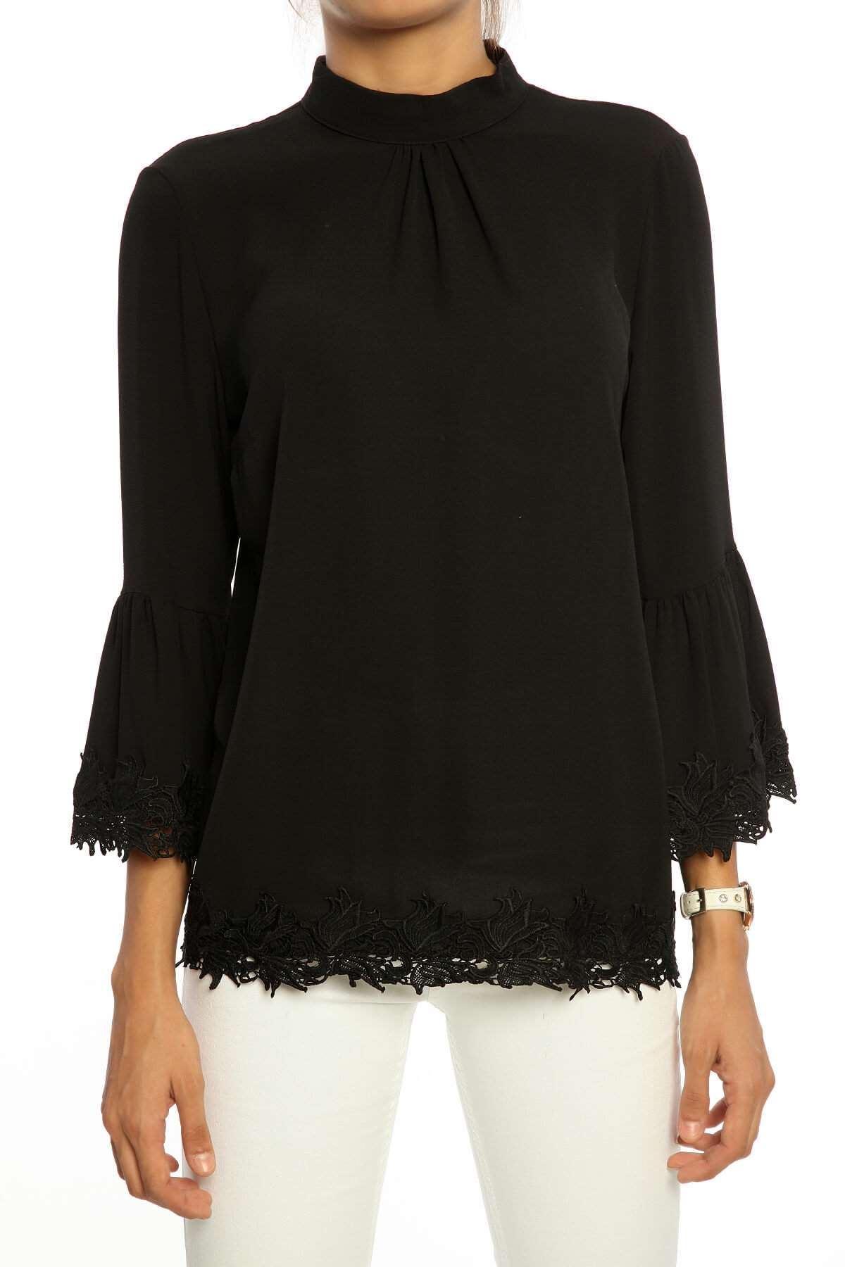 Volan Kol Dantel Detay Bluz Siyah