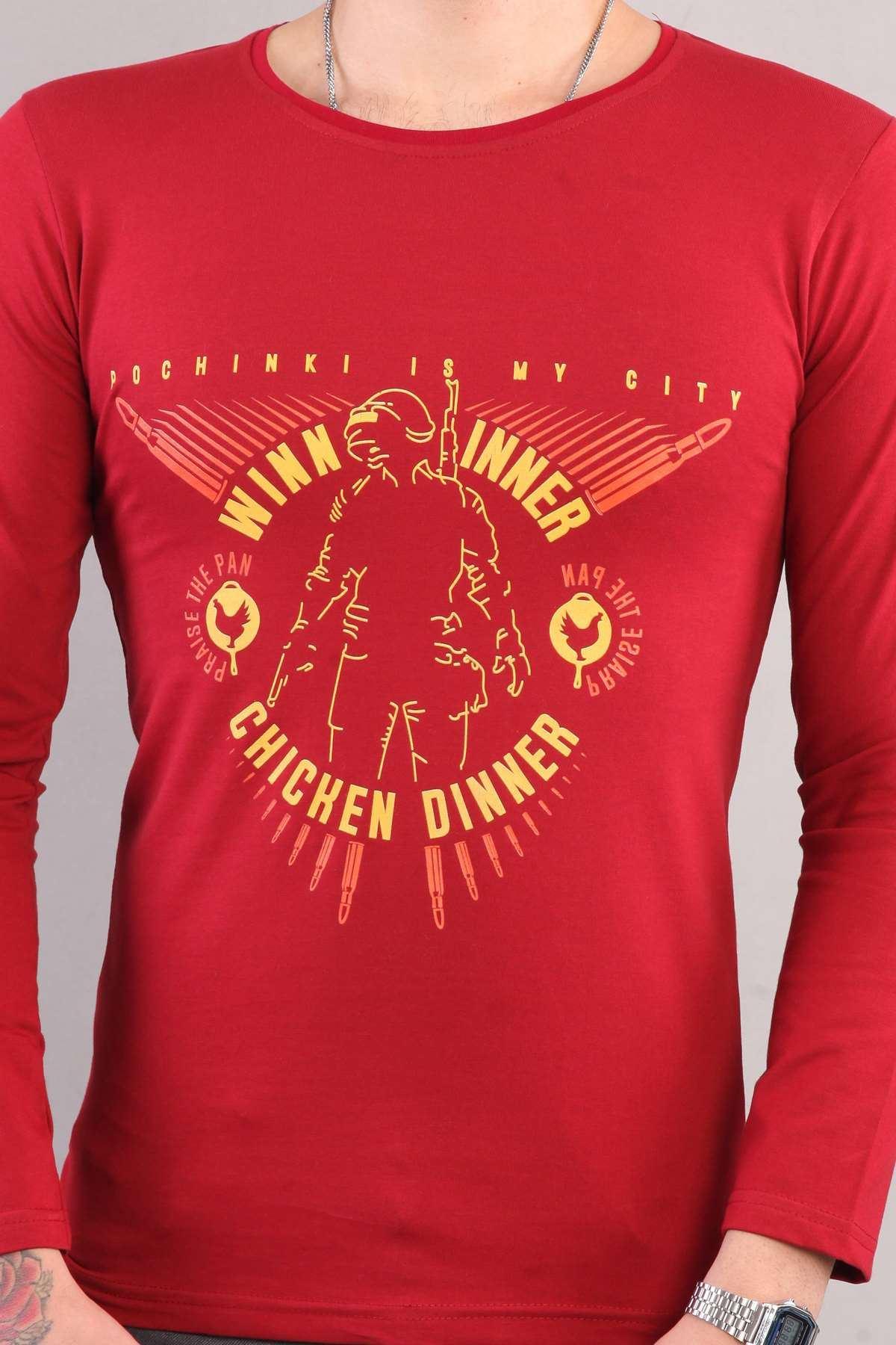 Winner Chicken Dinner Yazılı Sıfır Yaka Sweatshirt Bordo