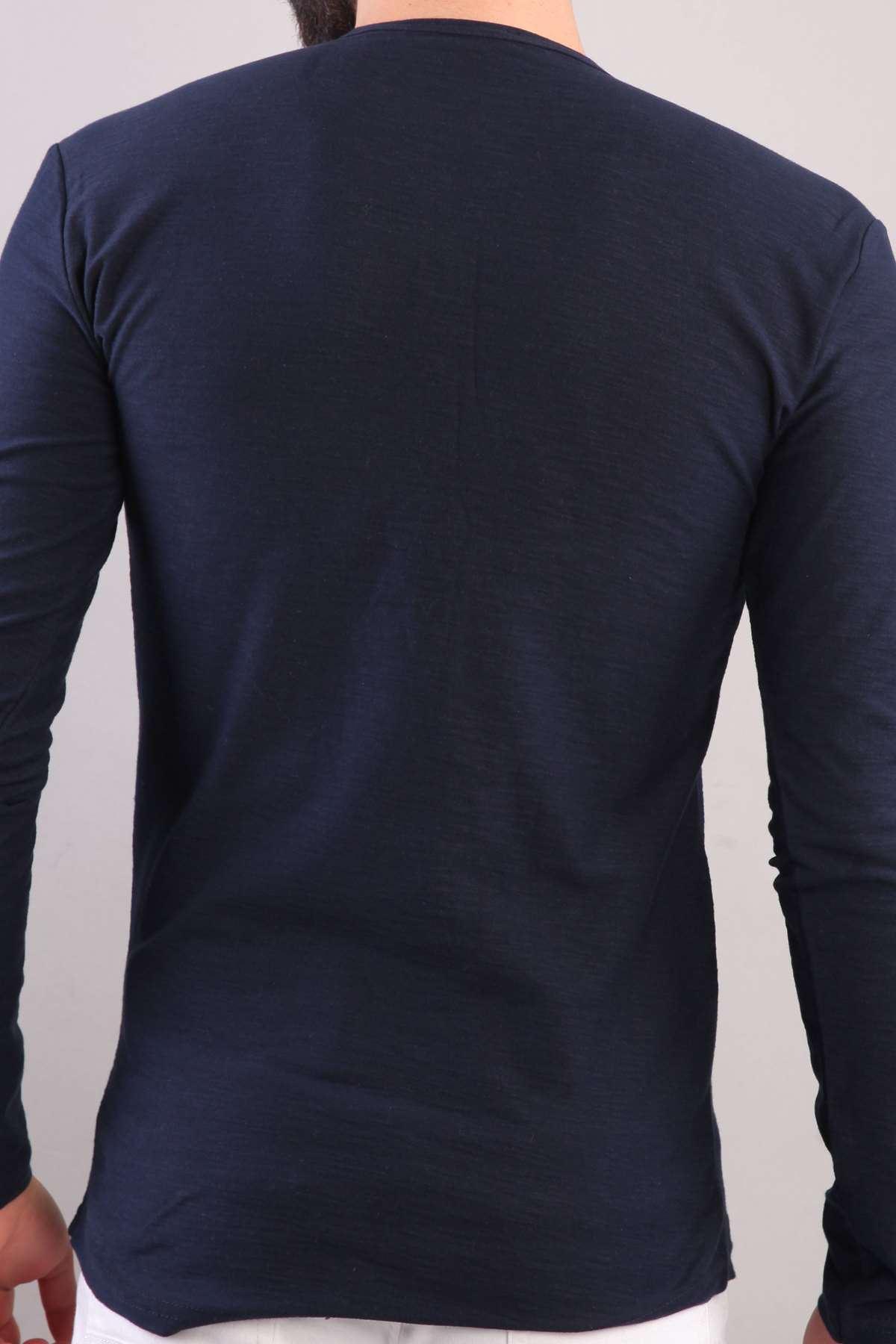 Yaka Düğmeli Flamlı Sweatshirt Lacivert
