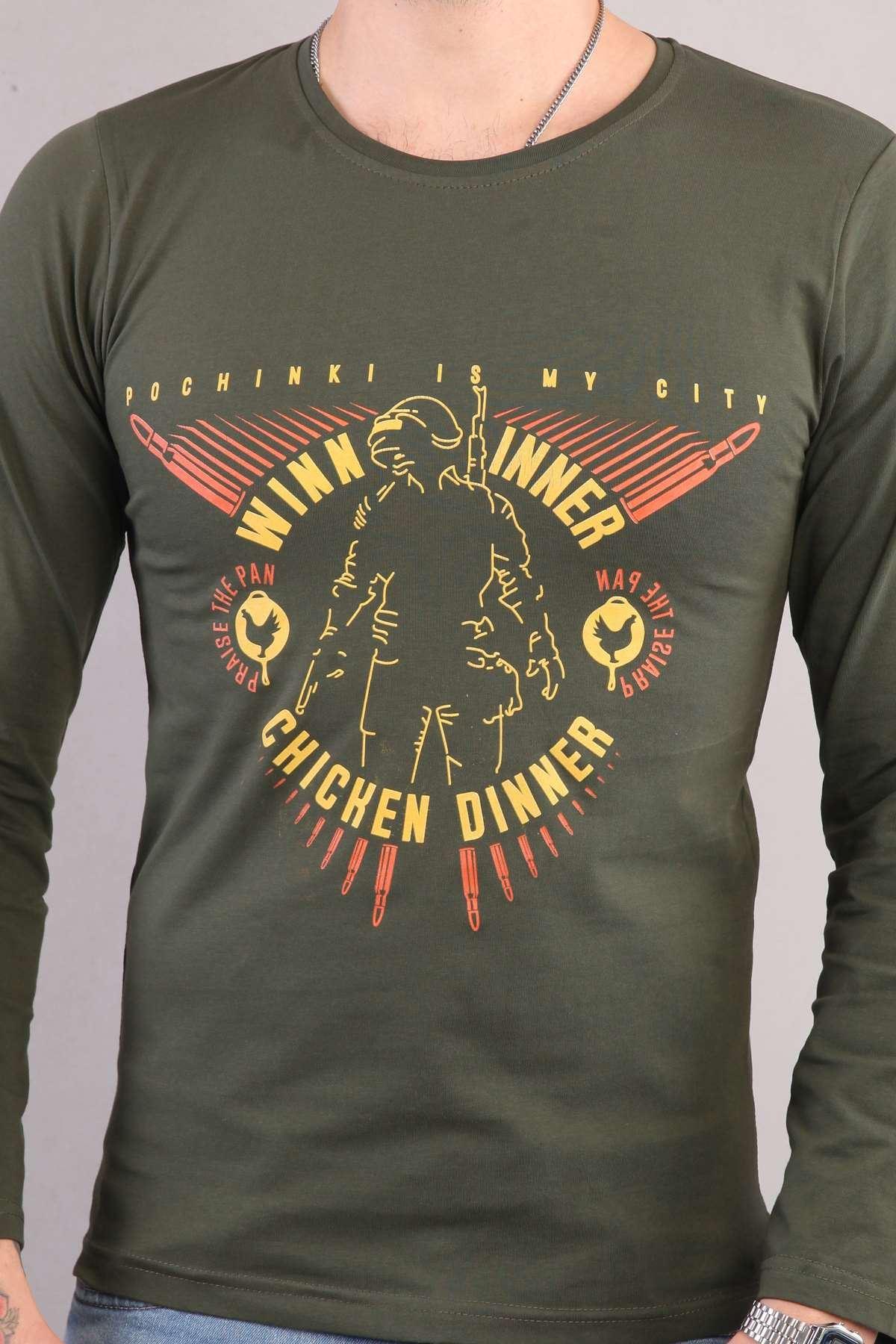 Winner Chicken Dinner Yazılı Sıfır Yaka Sweatshirt Haki