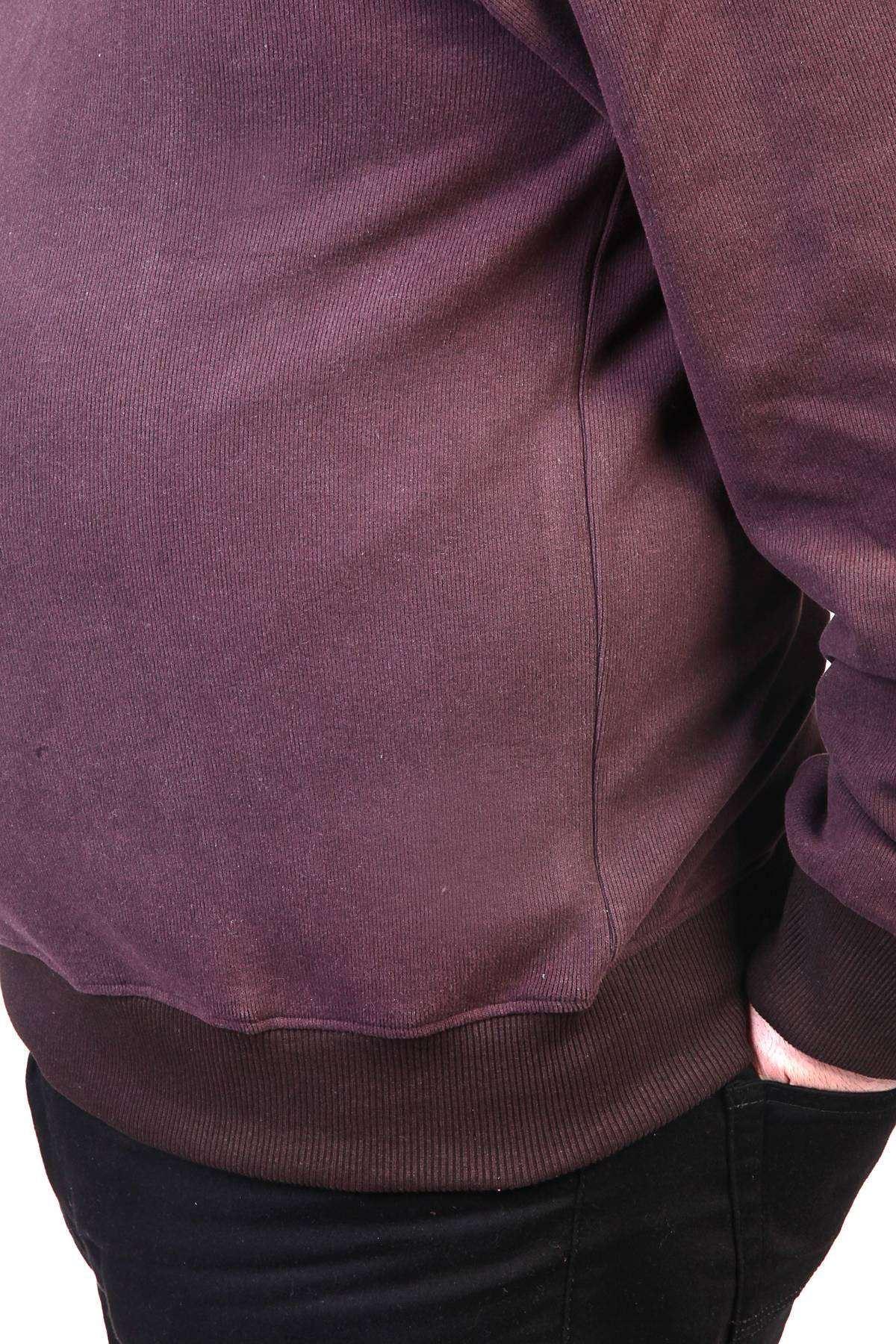 V Yaka Selanik Süper Battal Sweatshirt Kahve