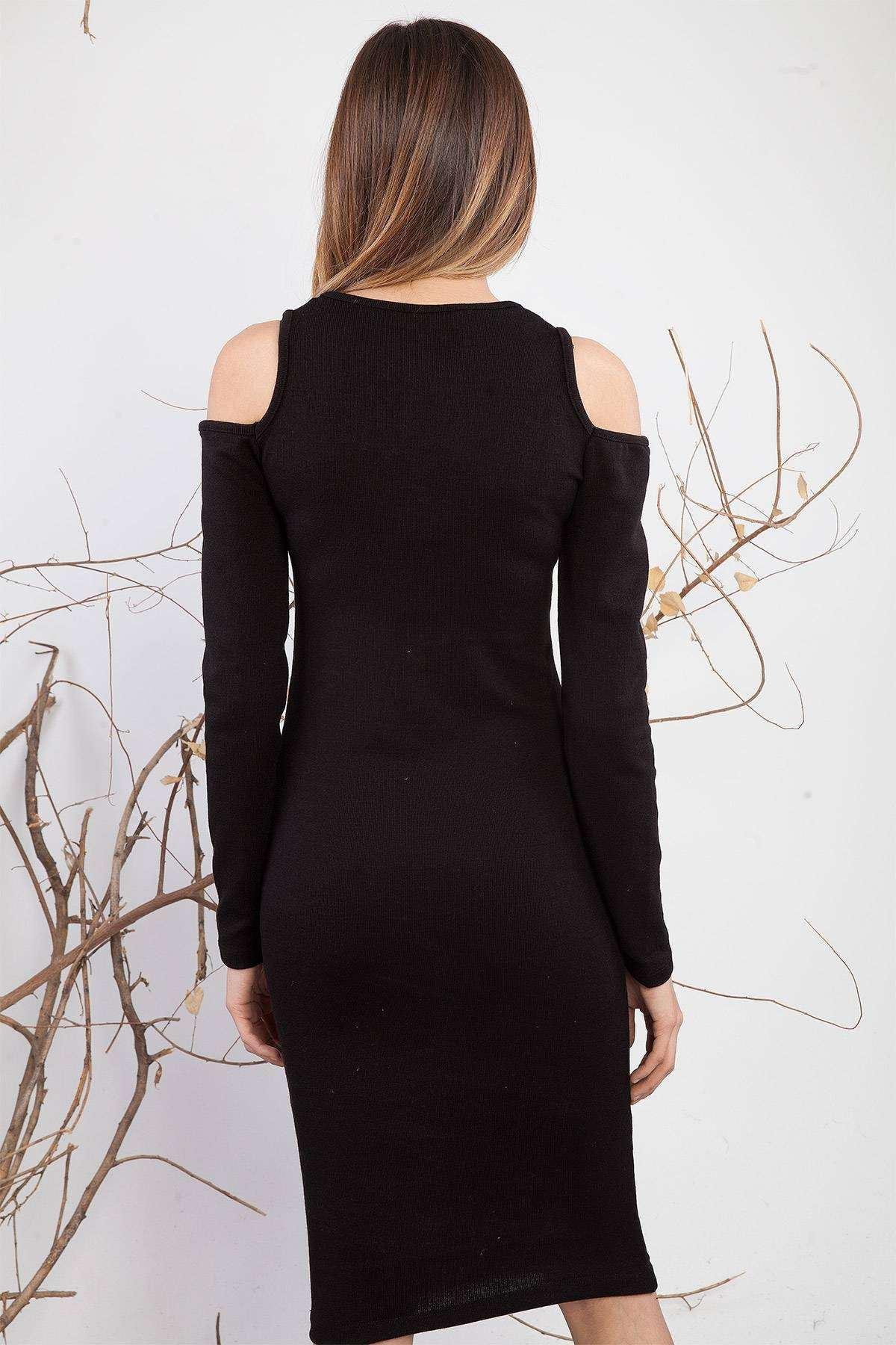 Yaka Fermuar Detaylı Omuz Dekolteli Elbise Siyah