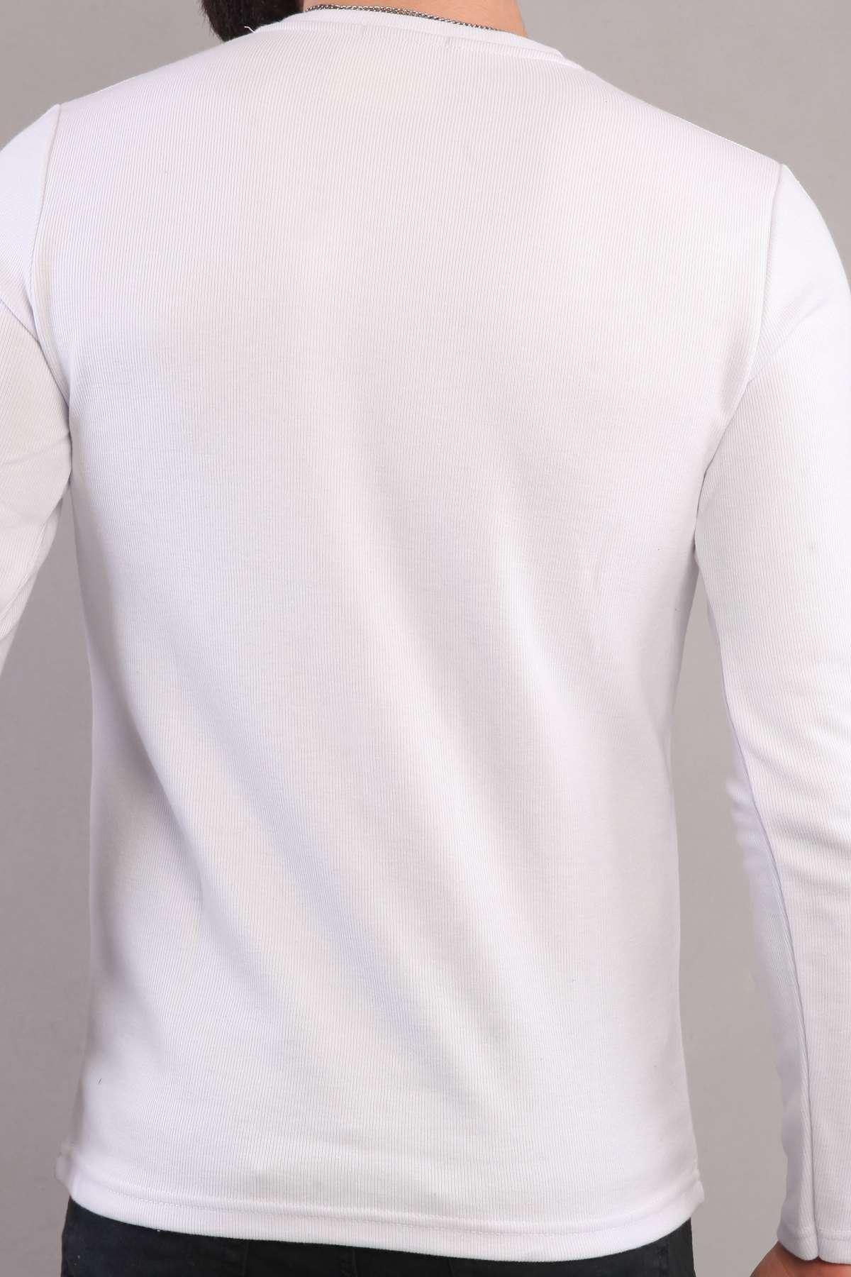 V Yaka Uzun Kol Sweatshırt Beyaz