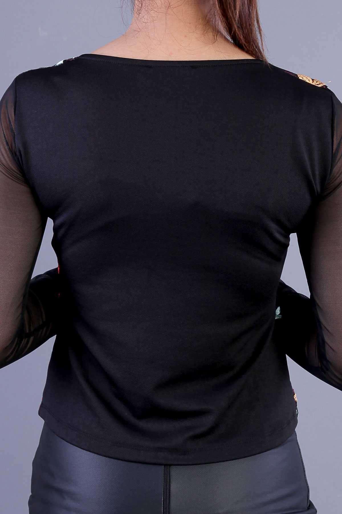 Volan Kol Etekleri Dantel Bluz Siyah