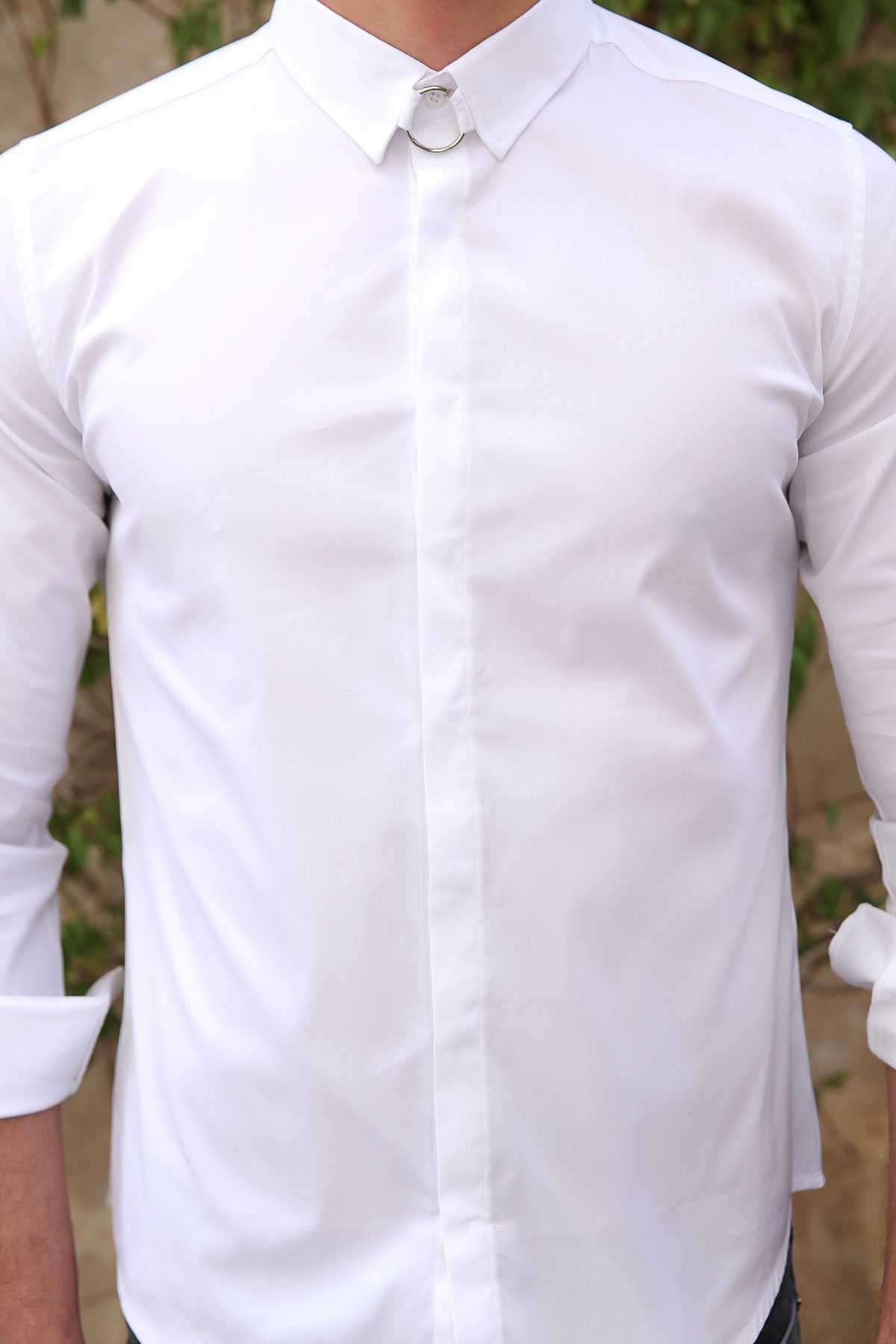 Yaka Ucu Metal Halkalı Parlak Düz Slim Fit Gömlek Beyaz