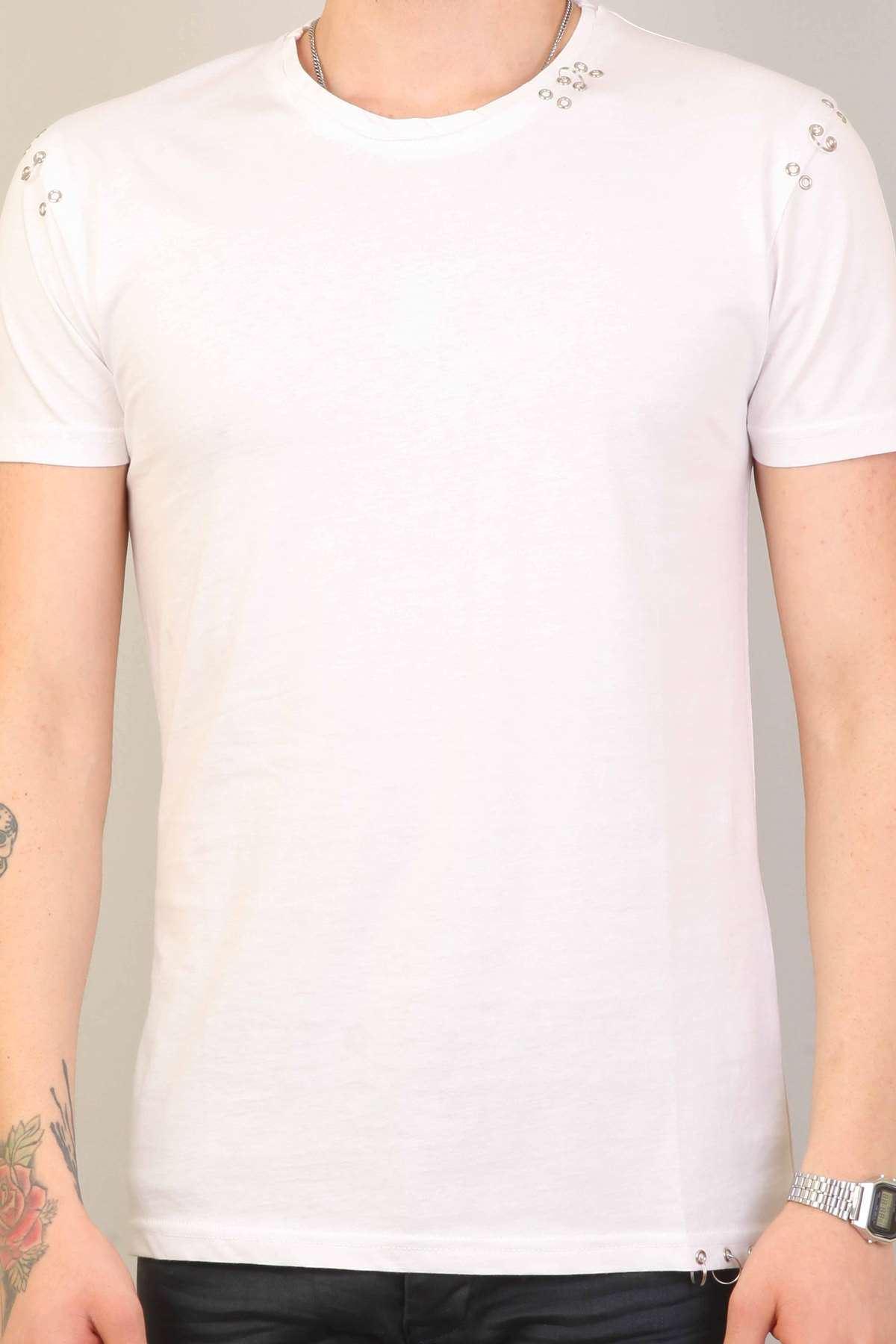 Yaka Omuz Ve Eteği Metal Halkalı Slim Fit Tişört Beyaz