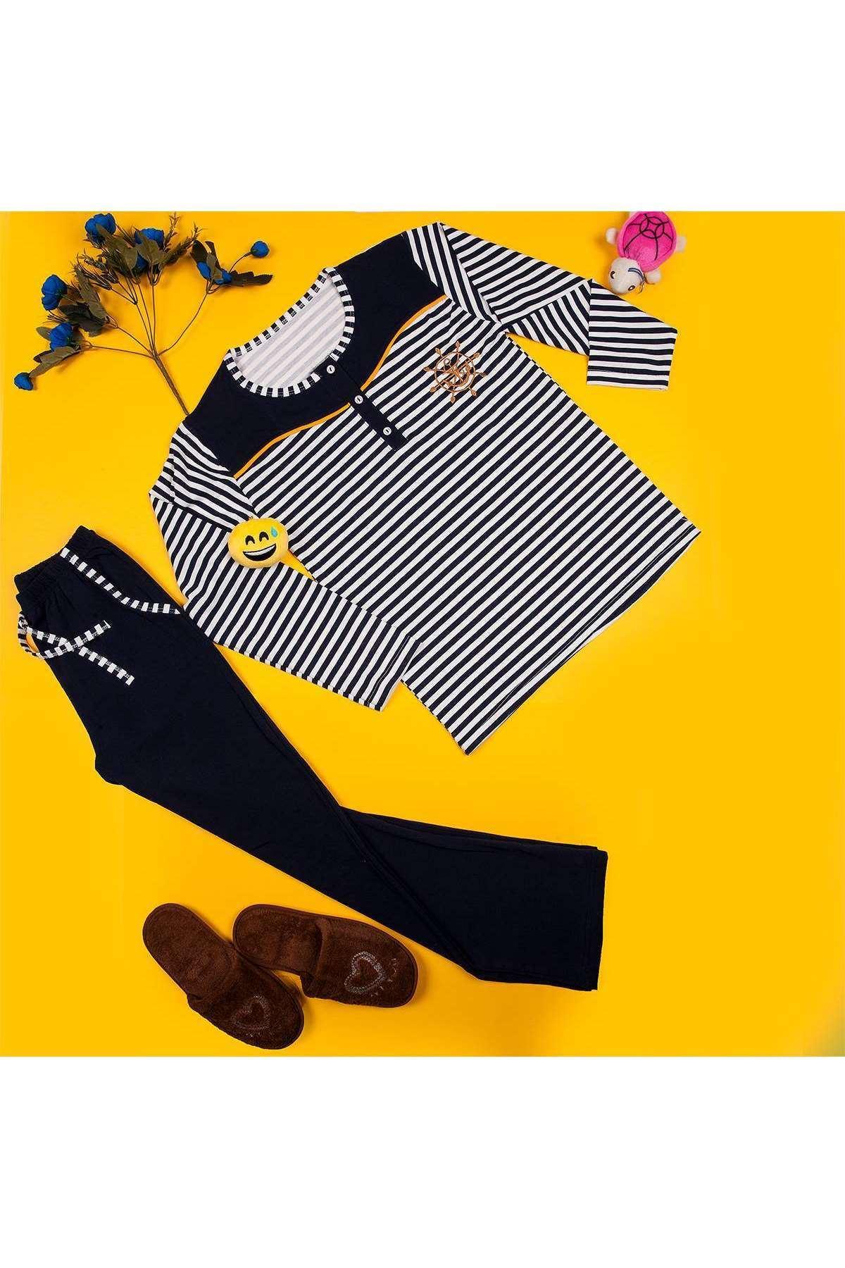 Yakası Düğmeli Çizgili Pijama Takımı Laci