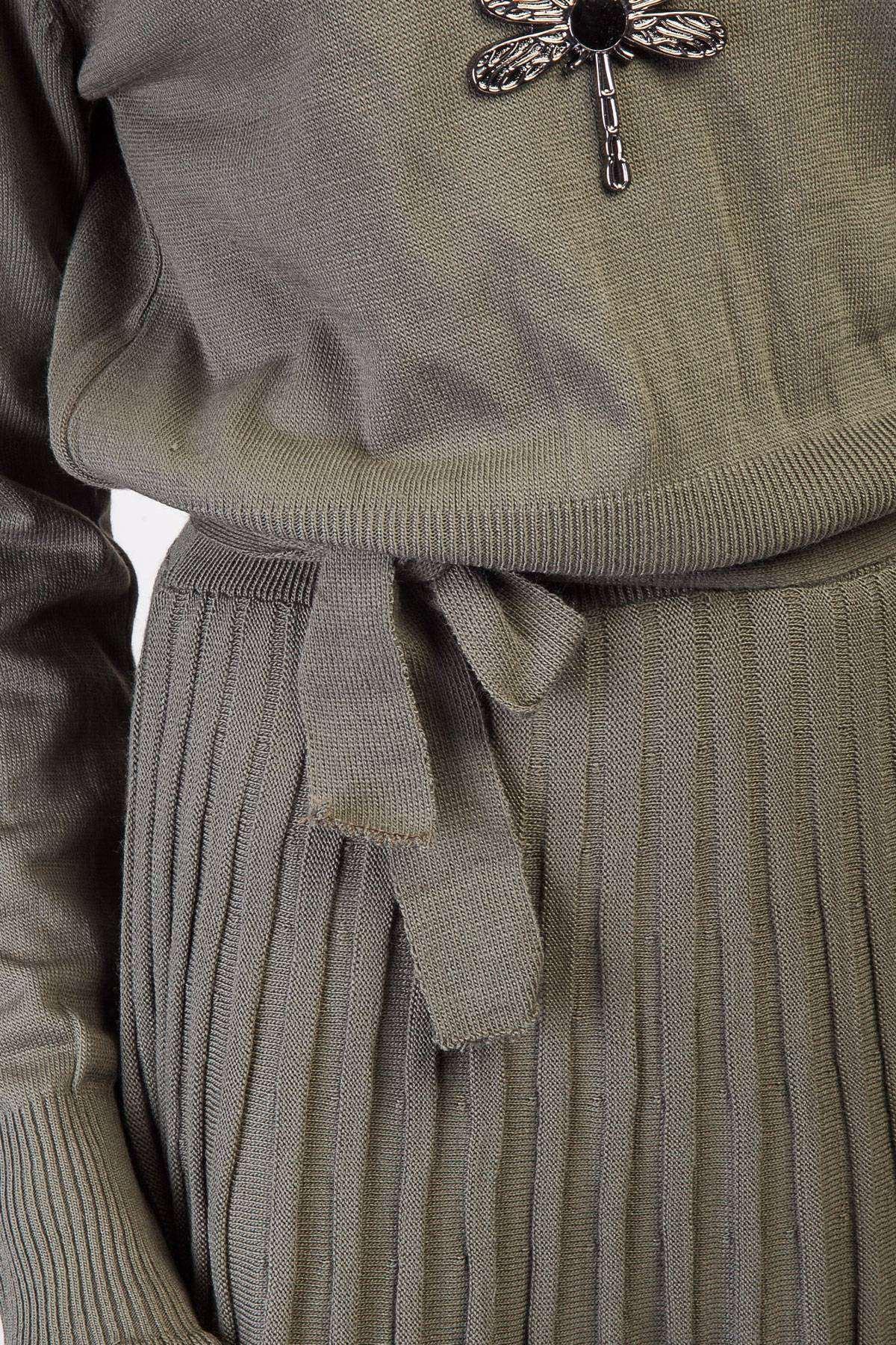 Yaka Kol Fırfırlı Eteği Pile Detaylı Triko Elbise Haki