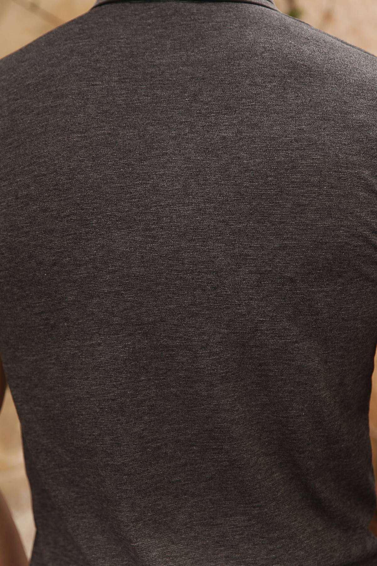 Yaka Kol Ucu Çizgili Polo Yaka Tişört Antrasit