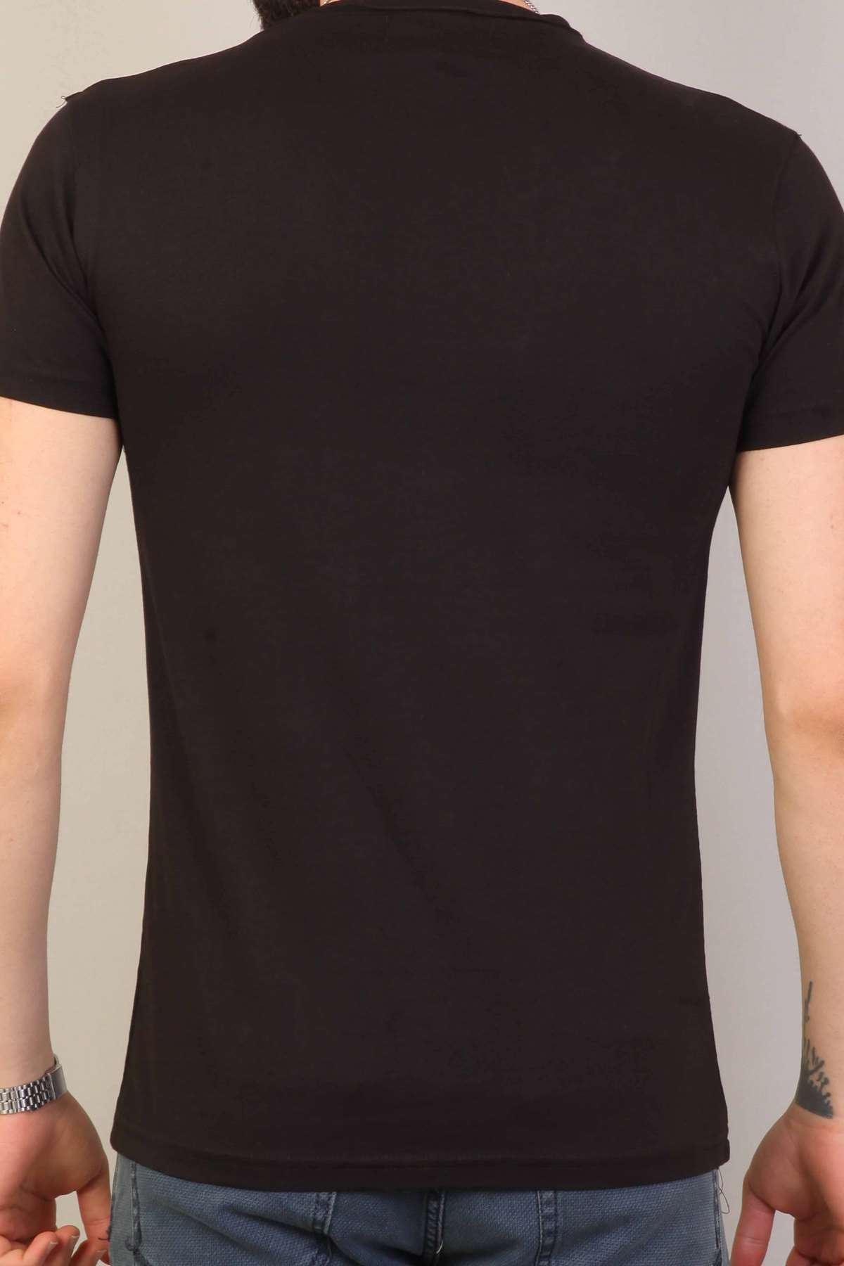Yaka Omuz Ve Eteği Metal Halkalı Slim Fit Tişört Siyah