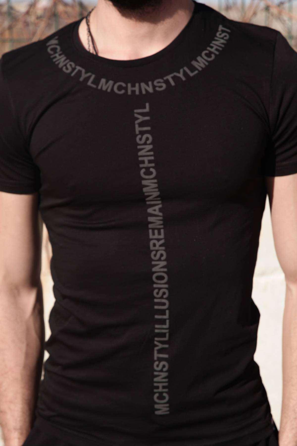 Yaka Ön Mchnst Yazılı Sıfır Yaka Tişört Siyah