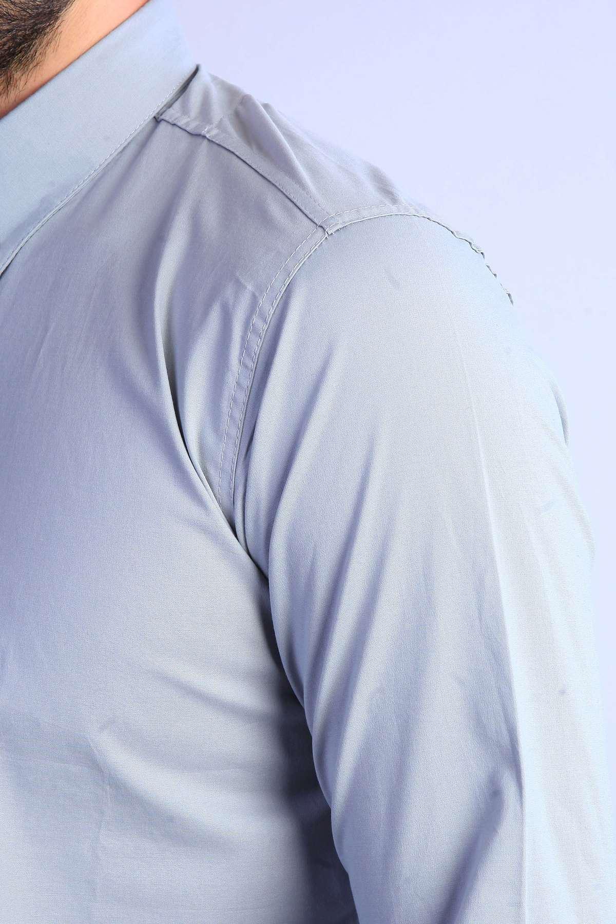 Yaka Zincirli Uzun Kol Slim Fit Gömlek Gri