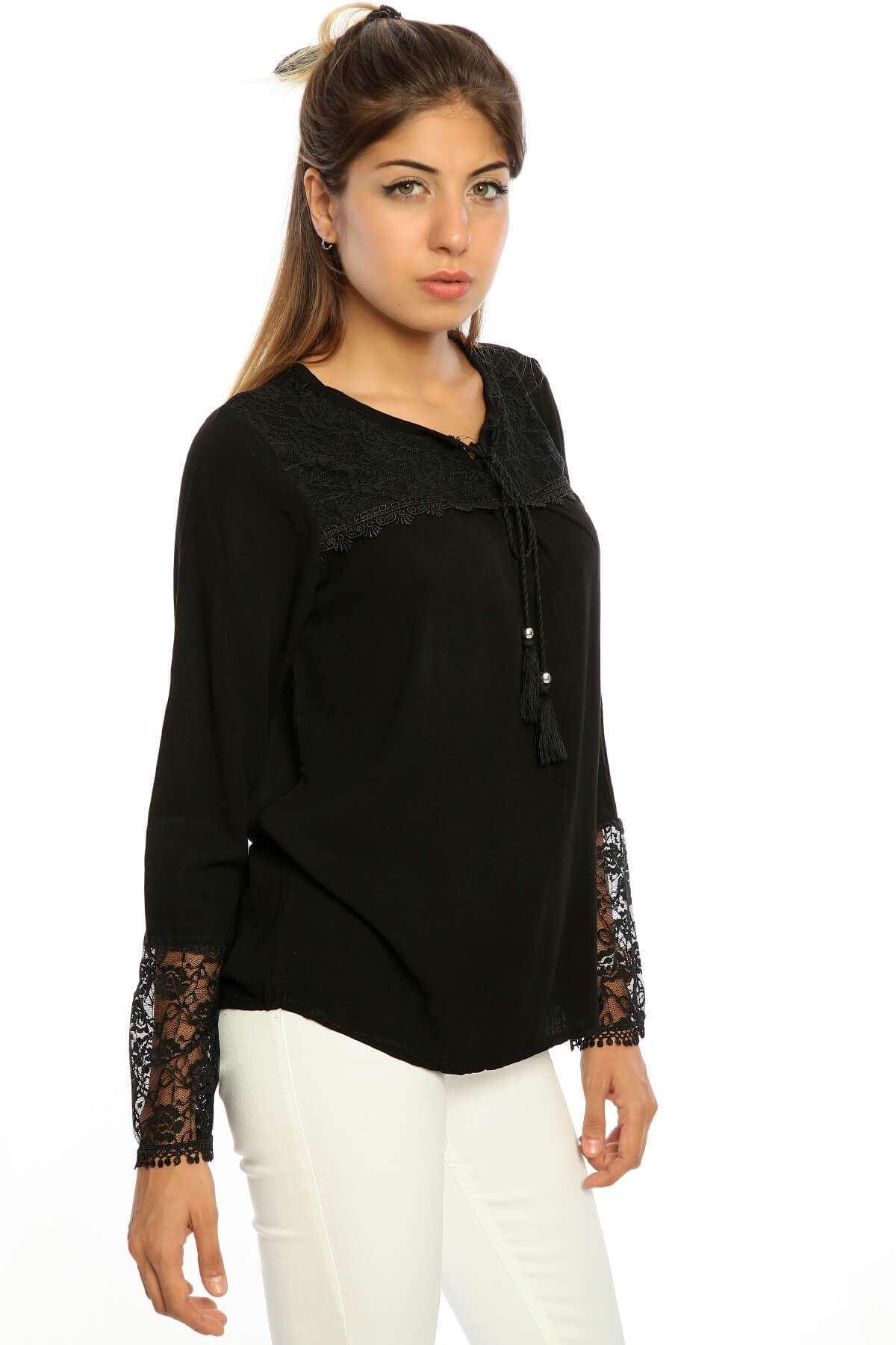 Yaka Kol Dantel İşleme Bluz Siyah