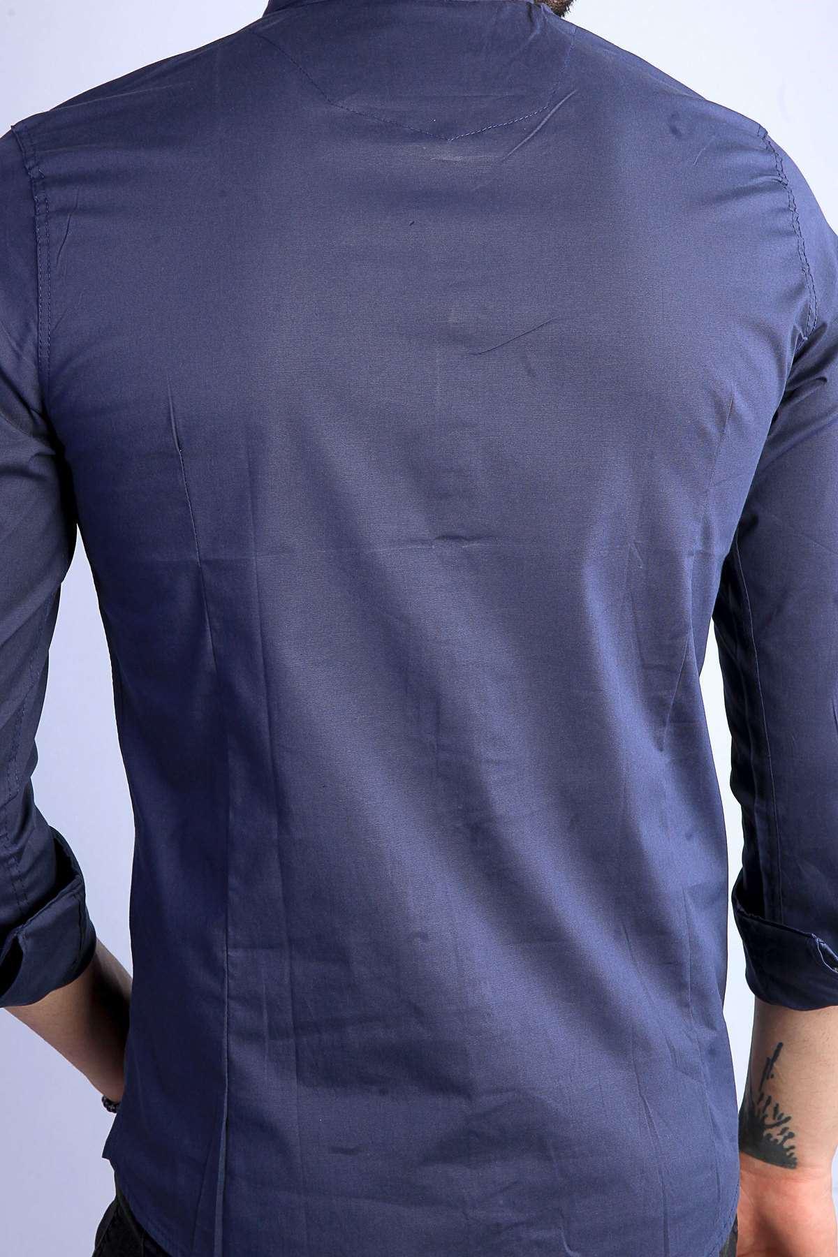 Yaka Zincirli Uzun Kol Slim Fit Gömlek Lacivert