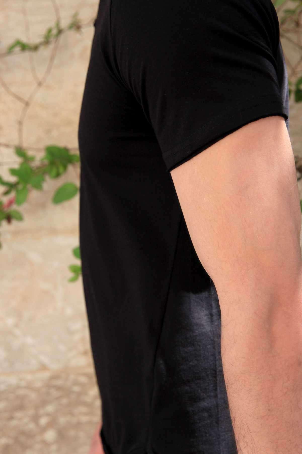 Yakası Çıtçıtlı Önü Kısa Arkası Uzun Pis Yaka Tişört Siyah