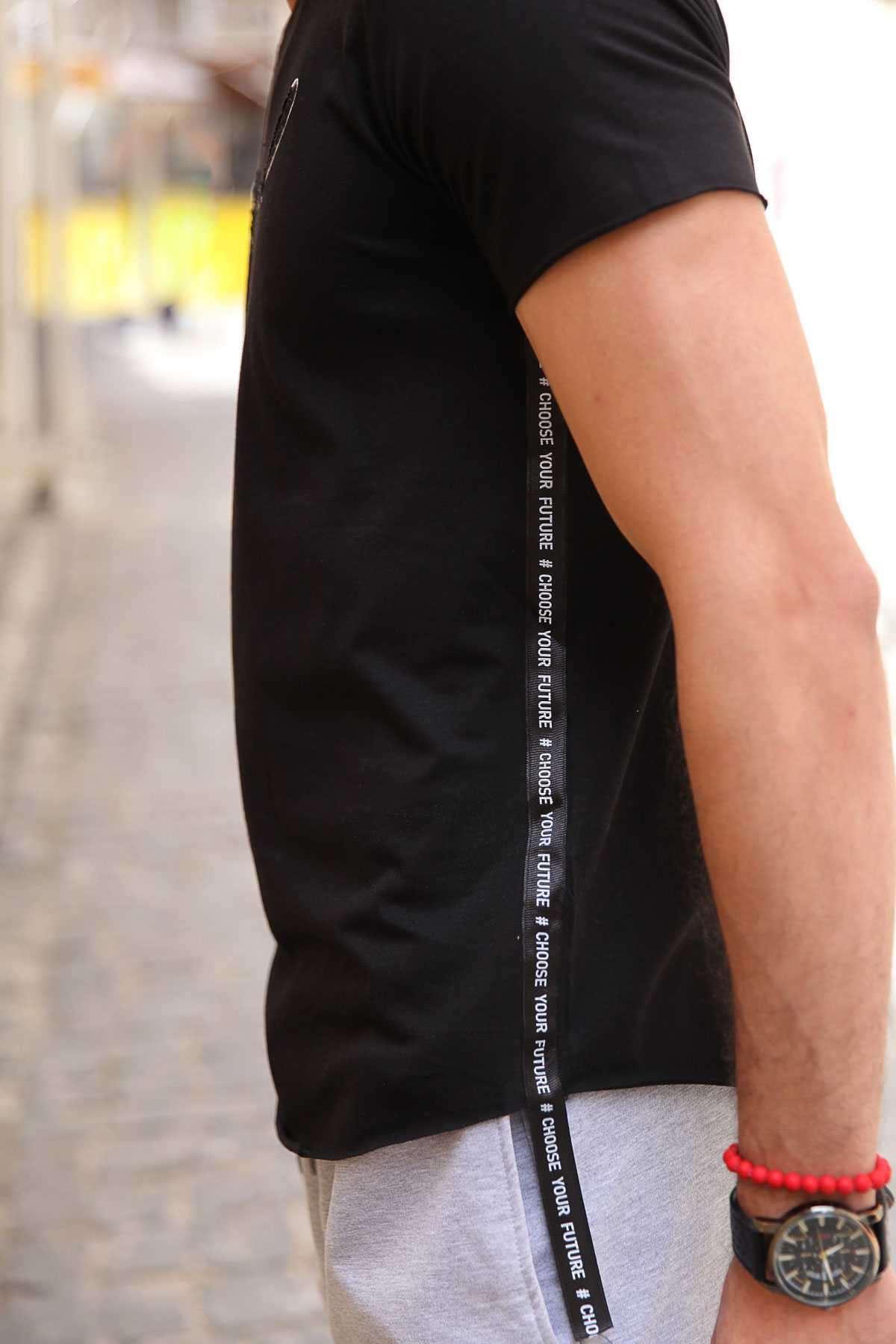 Yanları Yazı Şeritli Önü Kabartma Physical Yazılı Slim Fit Tişört Siyah