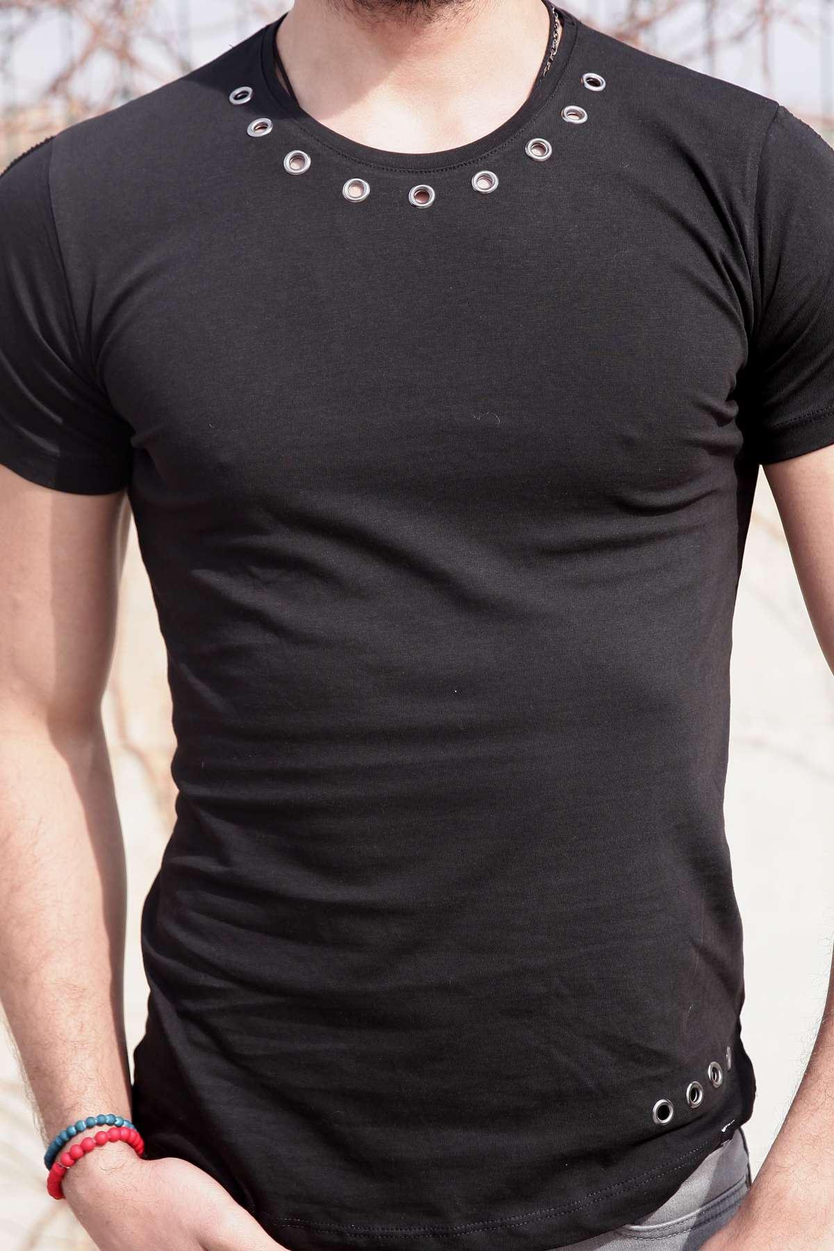 Yakası Ve Altı Metal Halkalı Slim Fit Tişört Siyah