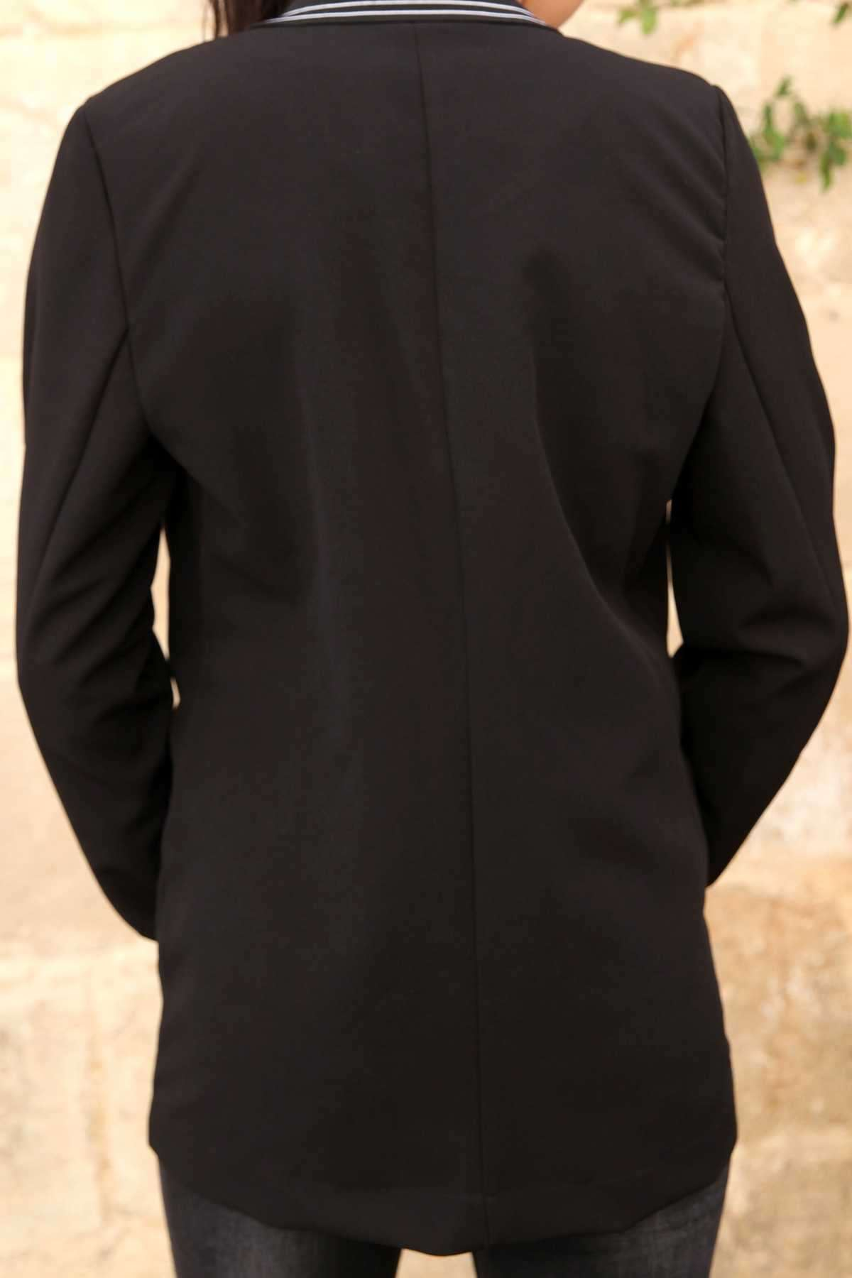 Yakası Ve Kol Ucu Çift Çizgi Detaylı Cepli Ceket Siyah