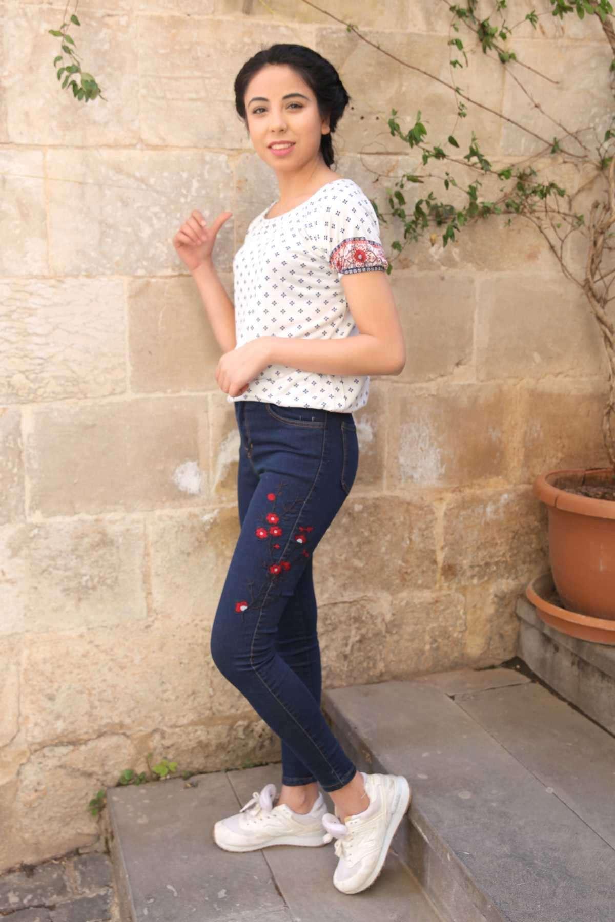 Yanı Çiçek İşleme Desen Detaylı Kot Pantolon Lacivert