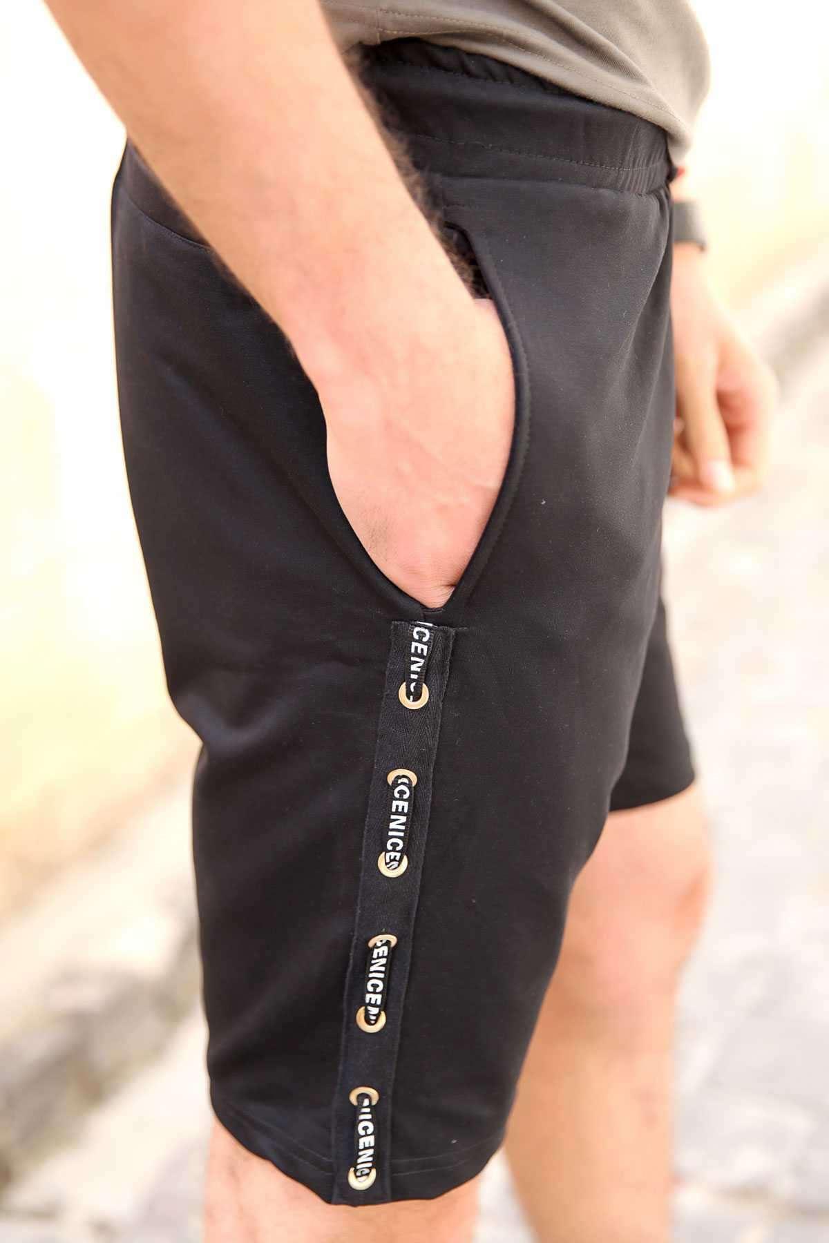 Yanları Şerit Yazılı Bel Lastikli İpli Cepli Slim Fit Şort Siyah