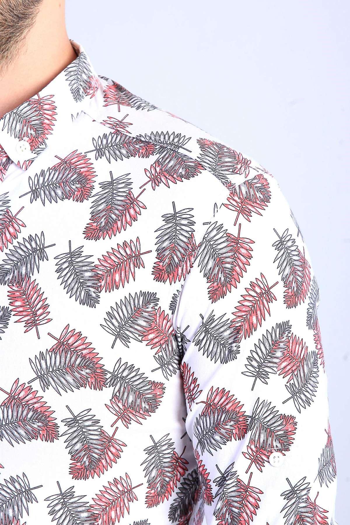 Yaprak Desenli Slimfit Likralı Gömlek Beyaz-Kırmızı