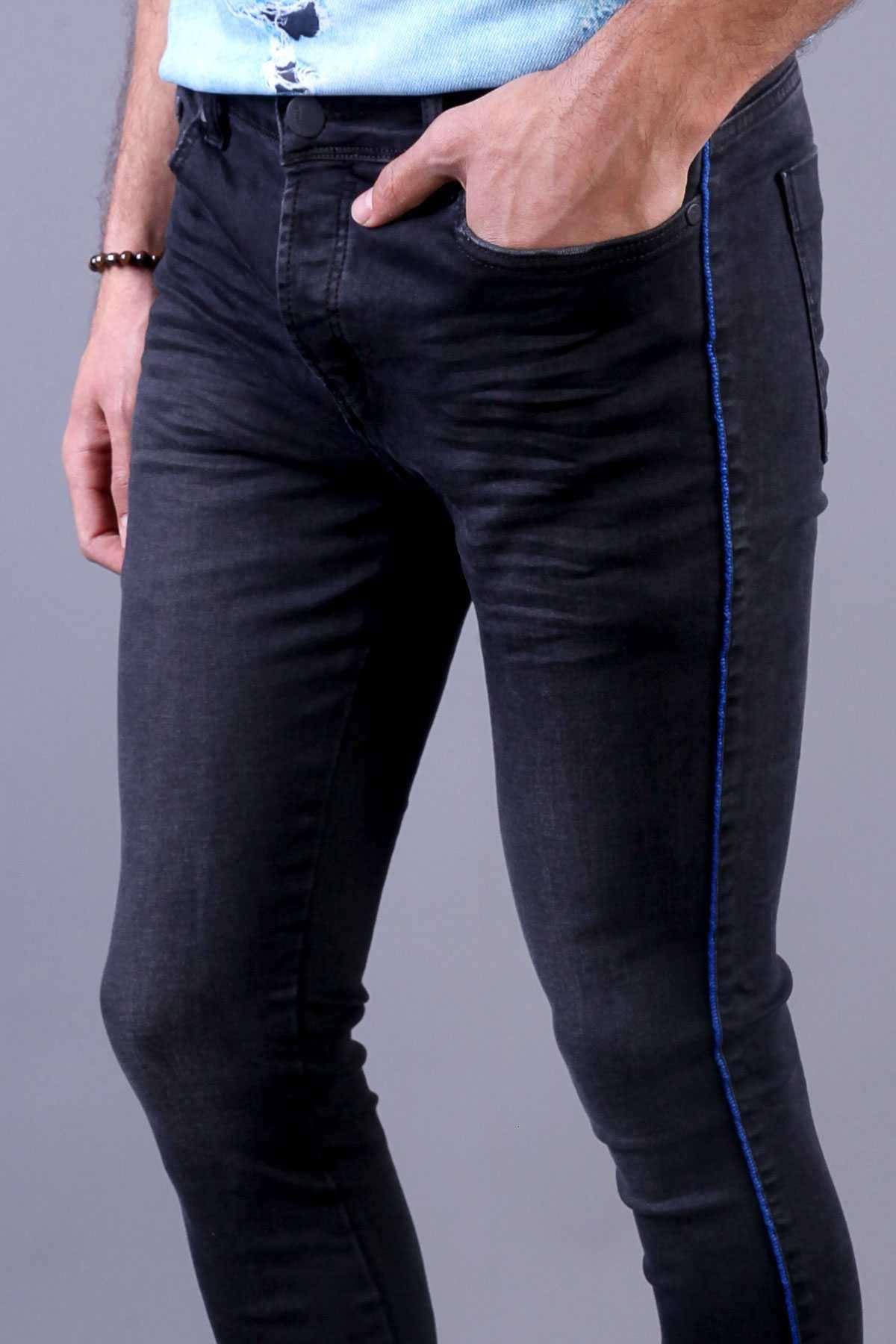 Yanı İnce Şeritli Hafif Taşlamalı Bilek Boy Slim Fit Kot Pantolon Antrasit