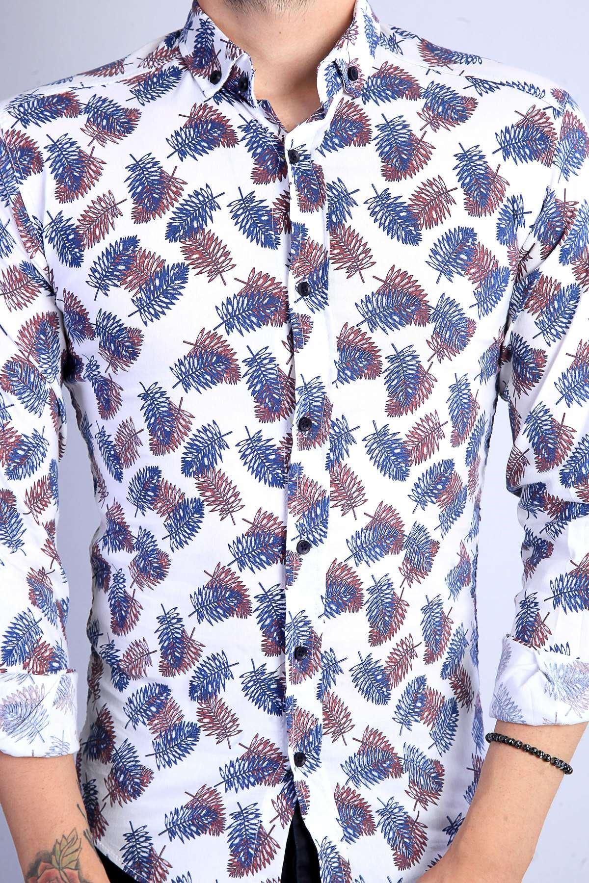 Yaprak Desenli Slimfit Likralı Gömlek Beyaz-Laci