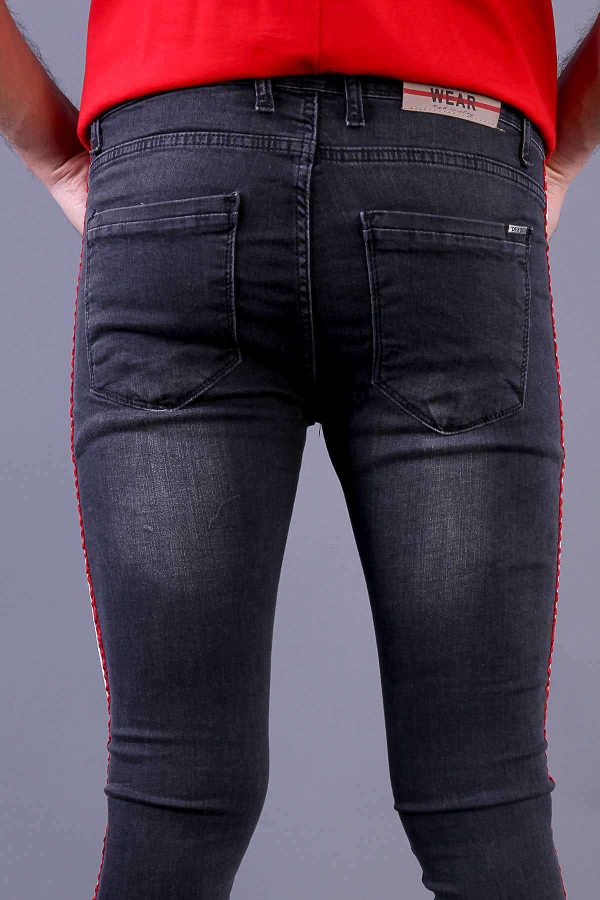 Yanı Çift Şeritli Hafif Taşlamalı Bilek Boy Slim Fit Kot Pantolon Antrasit