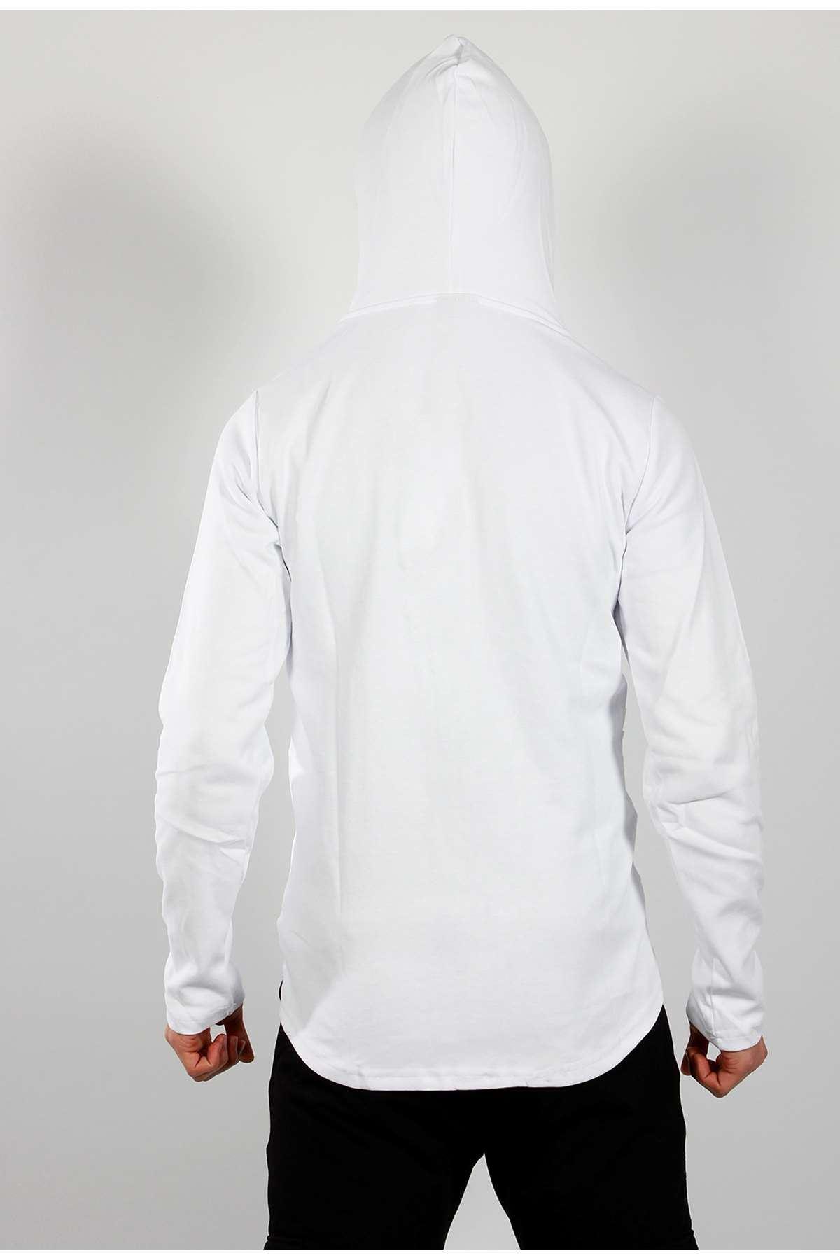 Yanları Nervürlü Göğüs Süs Cepli Kapşonlu Sweatshirt Beyaz