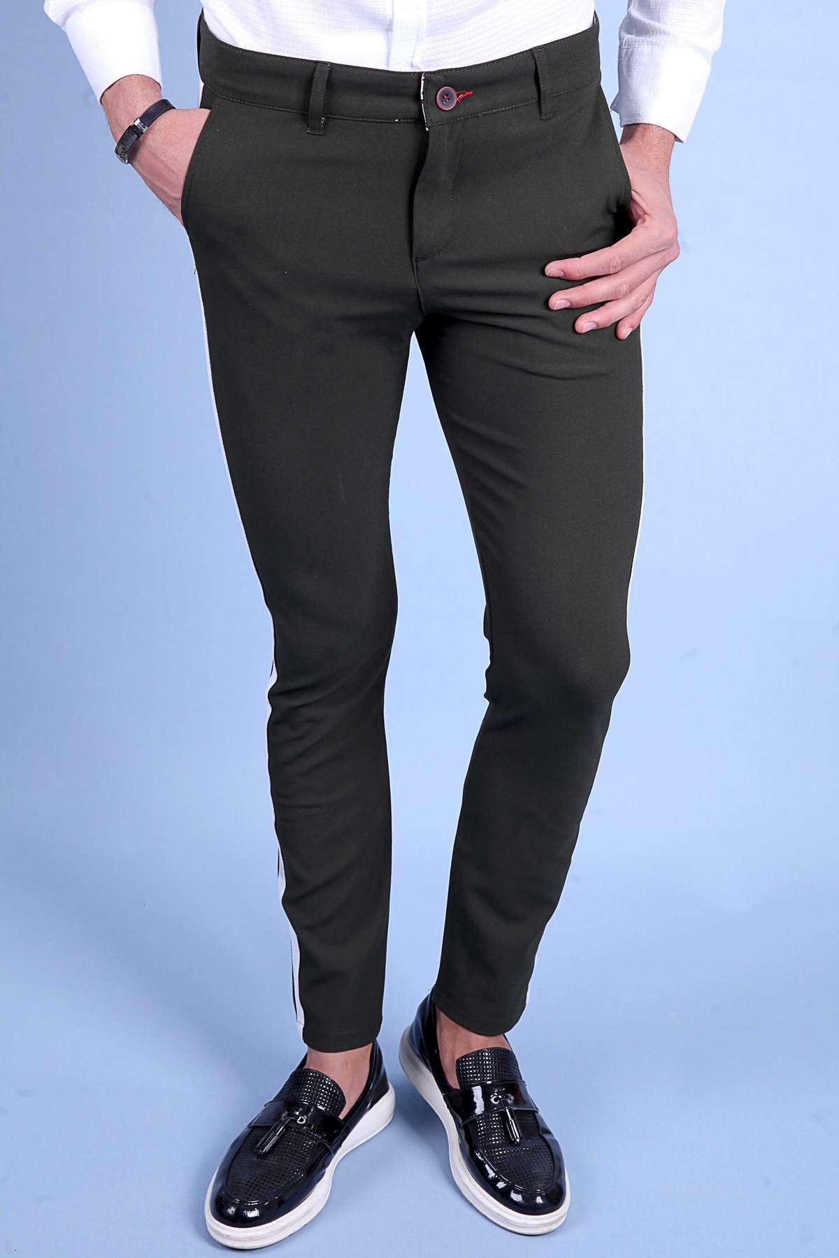 Yanı Şeritli Çift Cep Fermuarlı Slim Fit Pantolon Haki