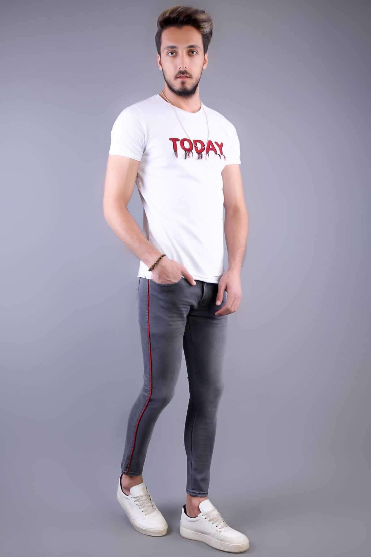 Yanı İnce Şeritli Hafif Taşlamalı Bilek Boy Slim Fit Kot Pantolon Füme
